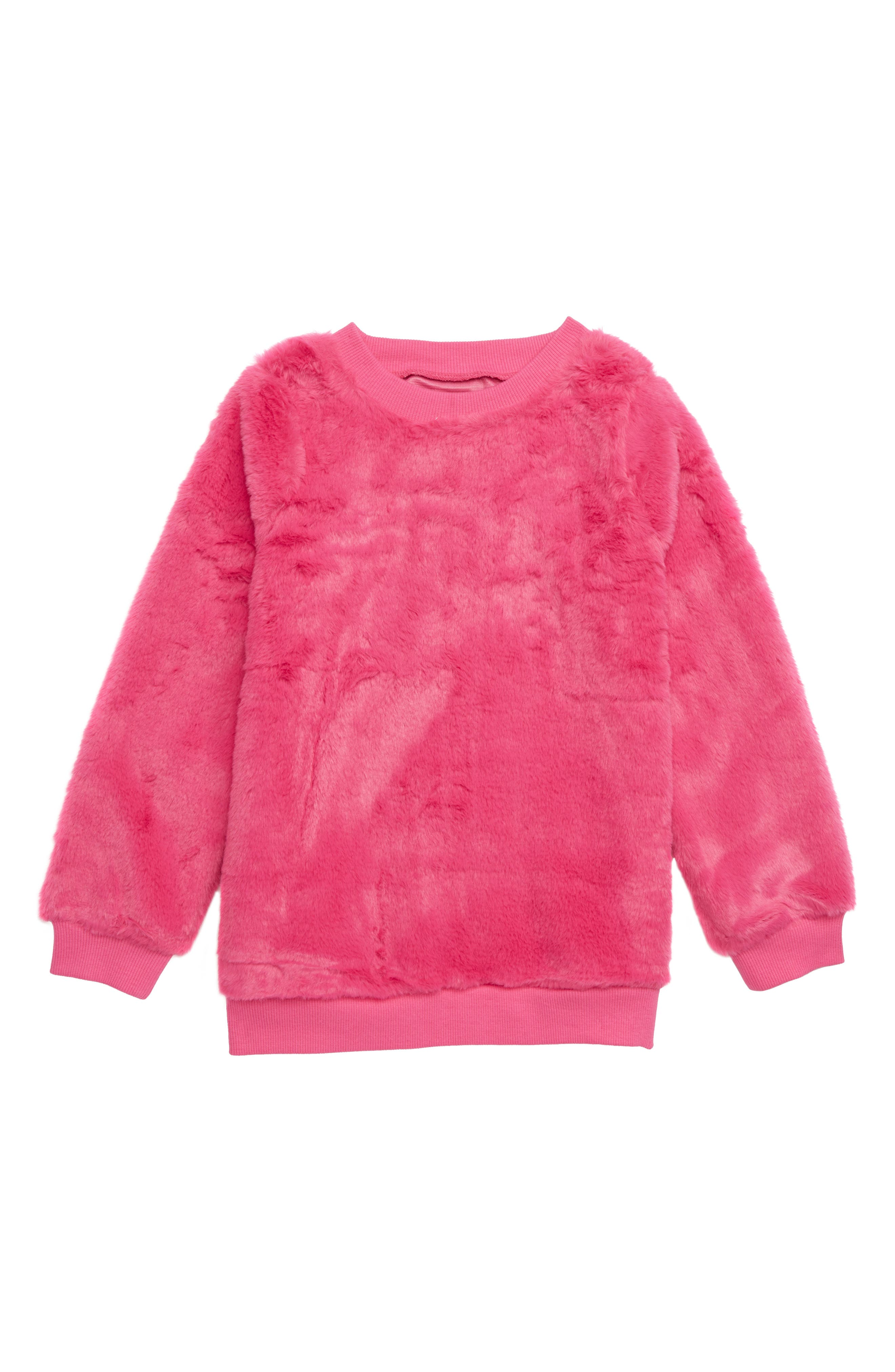 Faux Fur Tunic,                         Main,                         color, PINK MAGENTA