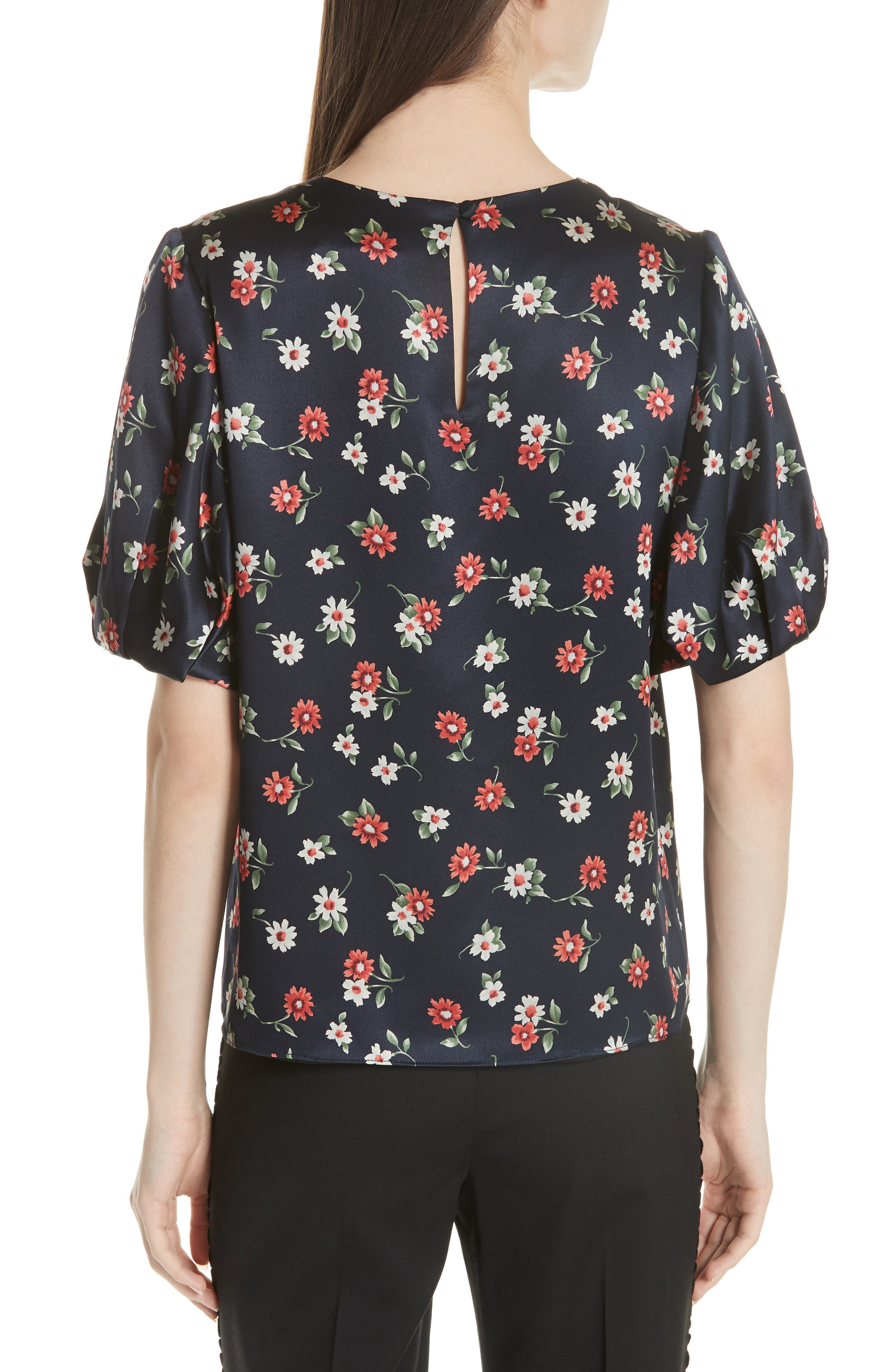 Melinda Puff Sleeve Floral Blouse,                             Alternate thumbnail 2, color,                             004