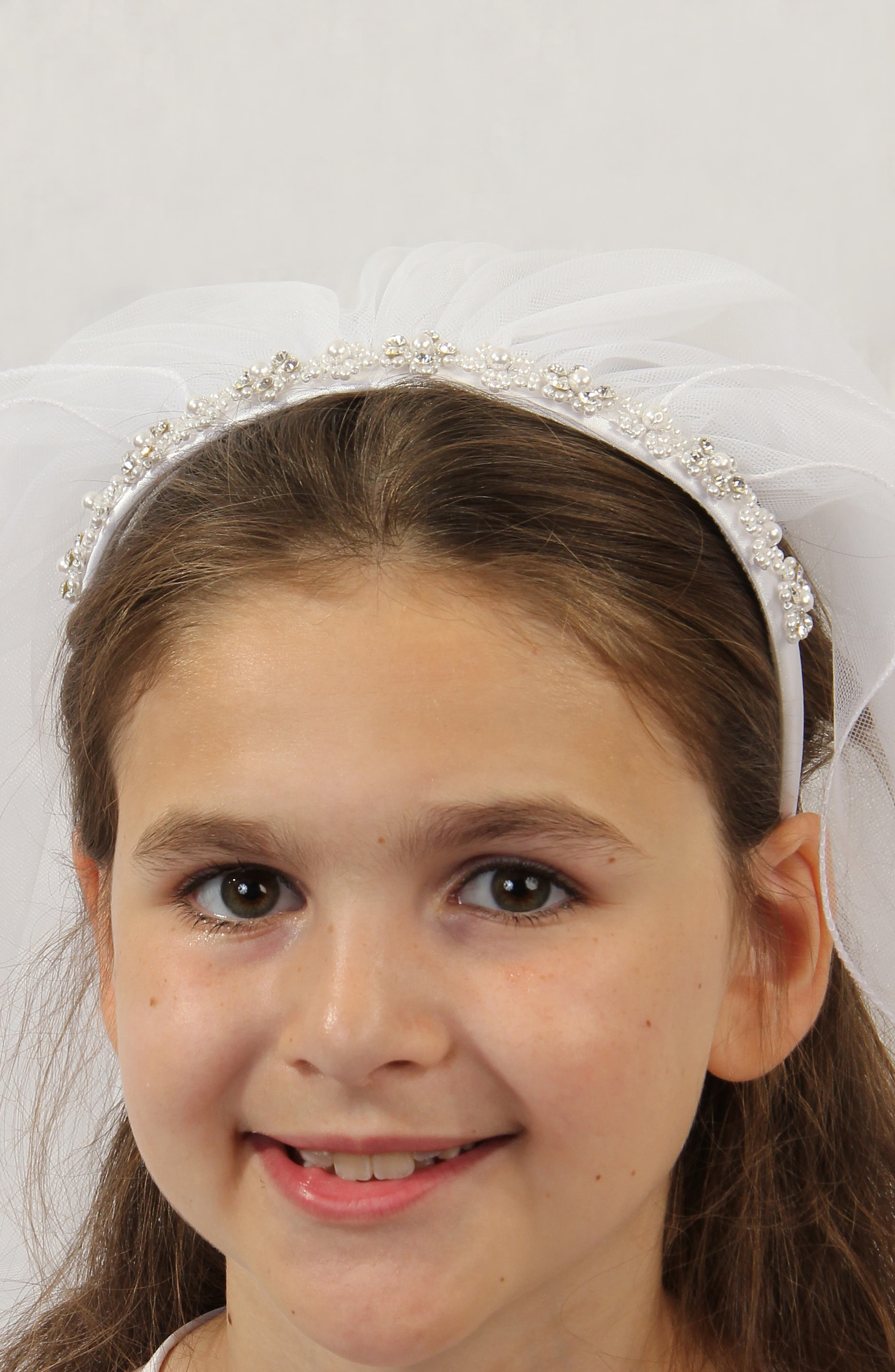 LAUREN MARIE First Communion Crystal Headband with Veil, Main, color, WHITE