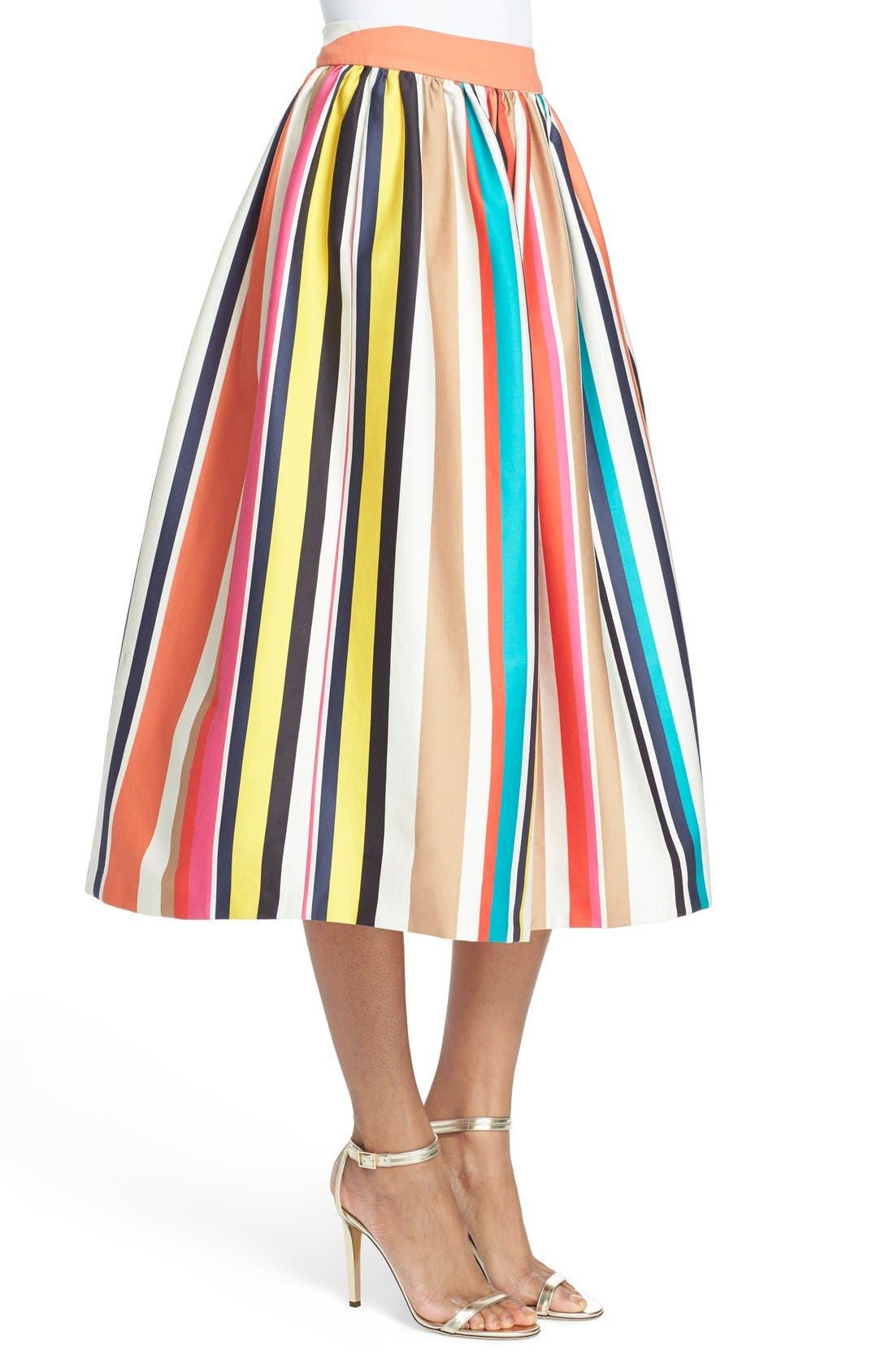 'Nikola' Stripe Midi Skirt,                             Alternate thumbnail 3, color,                             615