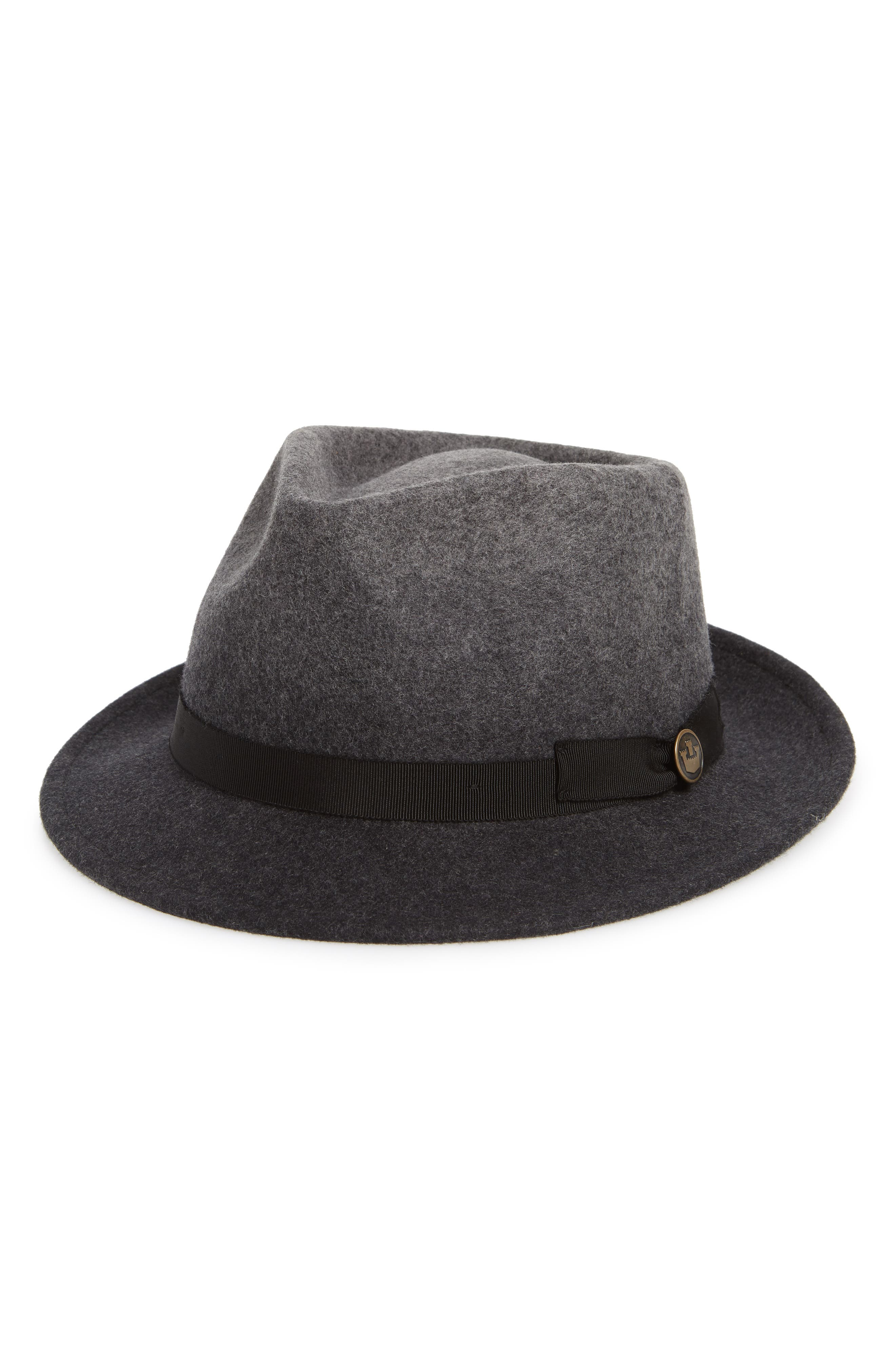 Late Night Ombré Wool Fedora,                             Main thumbnail 1, color,                             BLACK