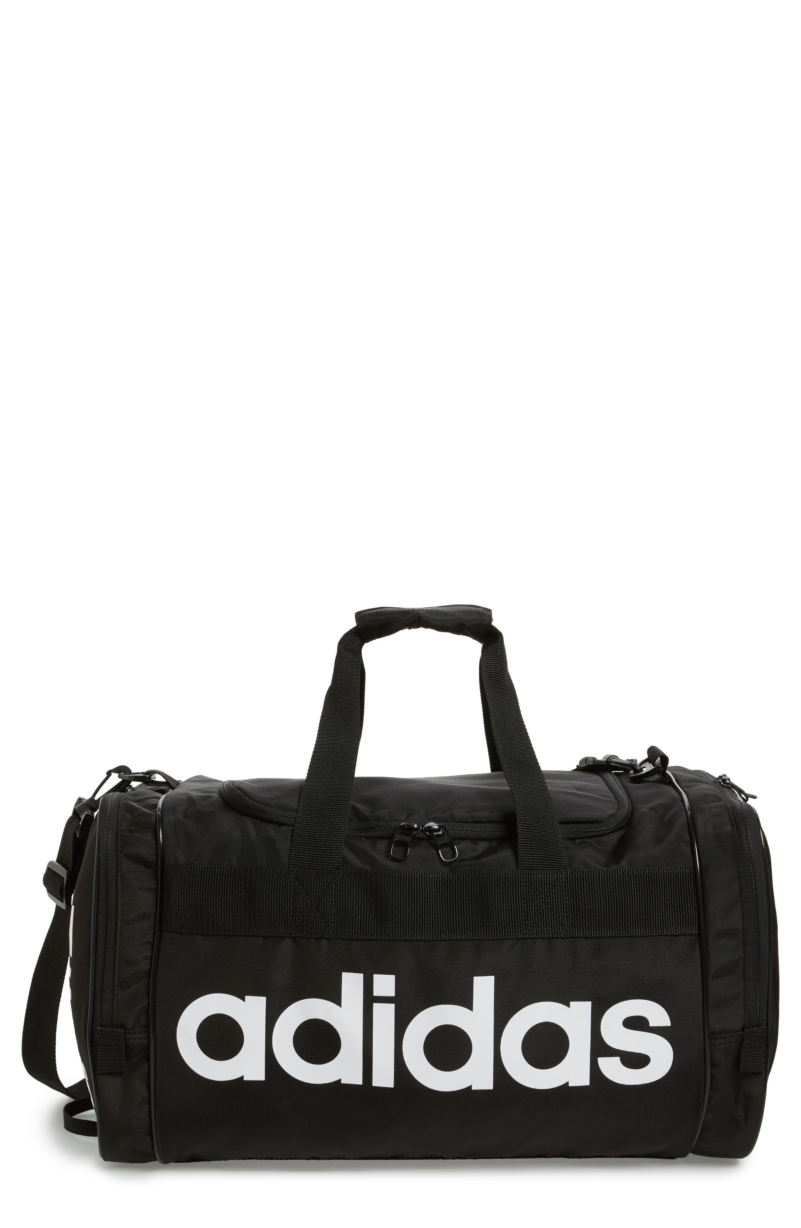 ADIDAS ORIGINALS,                             Santiago Duffel Bag,                             Main thumbnail 1, color,                             BLACK/ WHITE