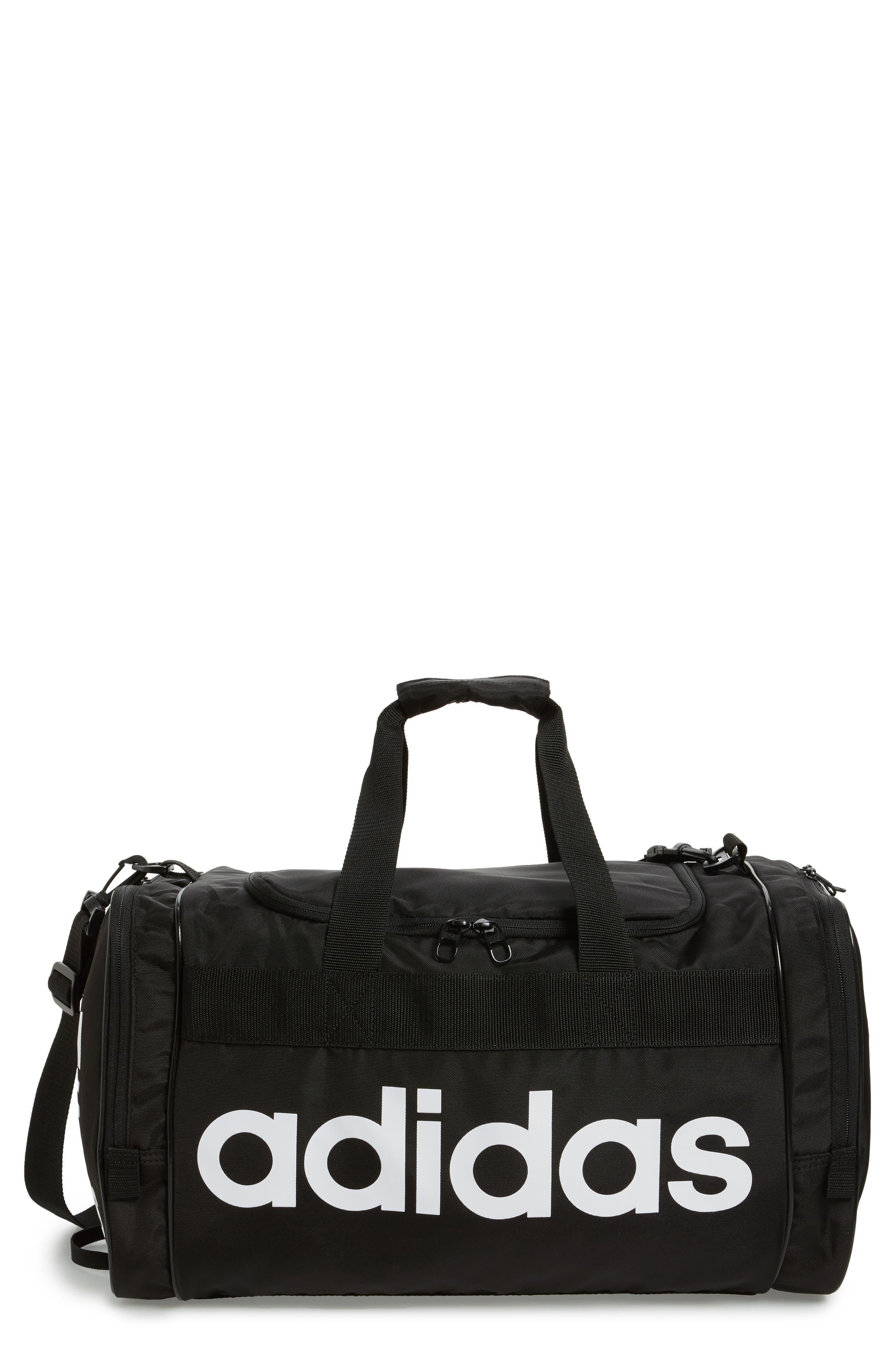 ADIDAS ORIGINALS Santiago Duffel Bag, Main, color, BLACK/ WHITE