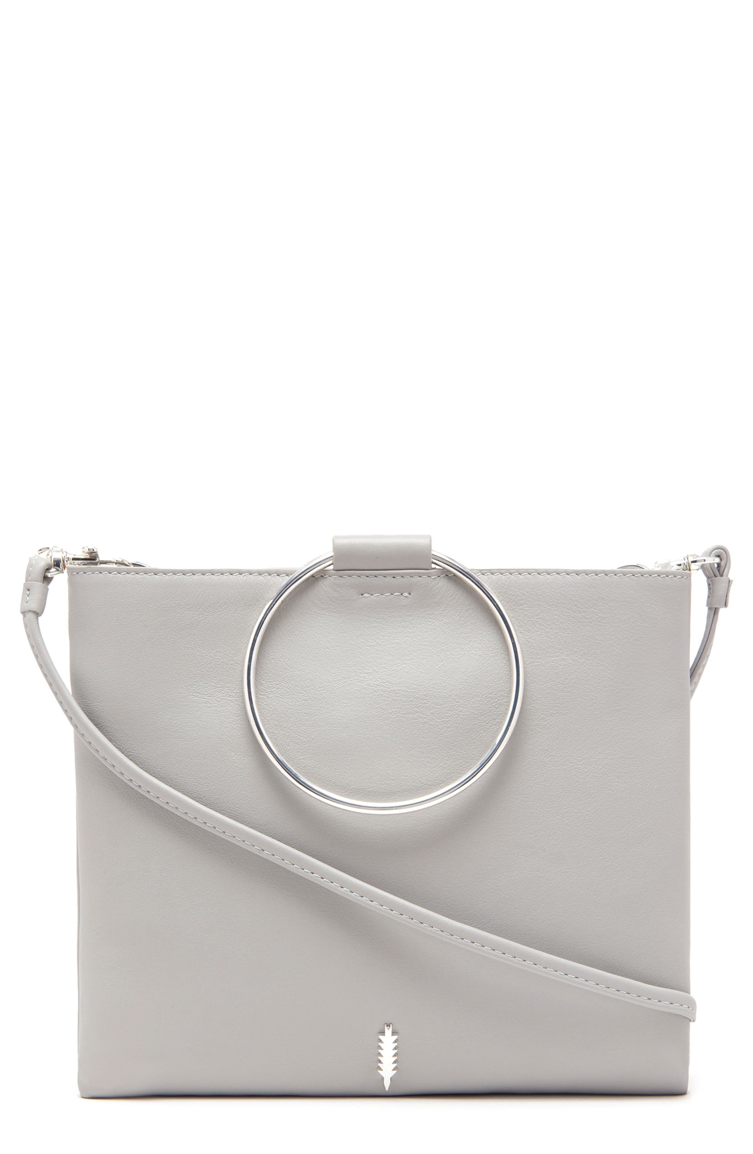 Le Pouch Leather Ring Handle Crossbody Bag, Main, color, DOVE GRAY