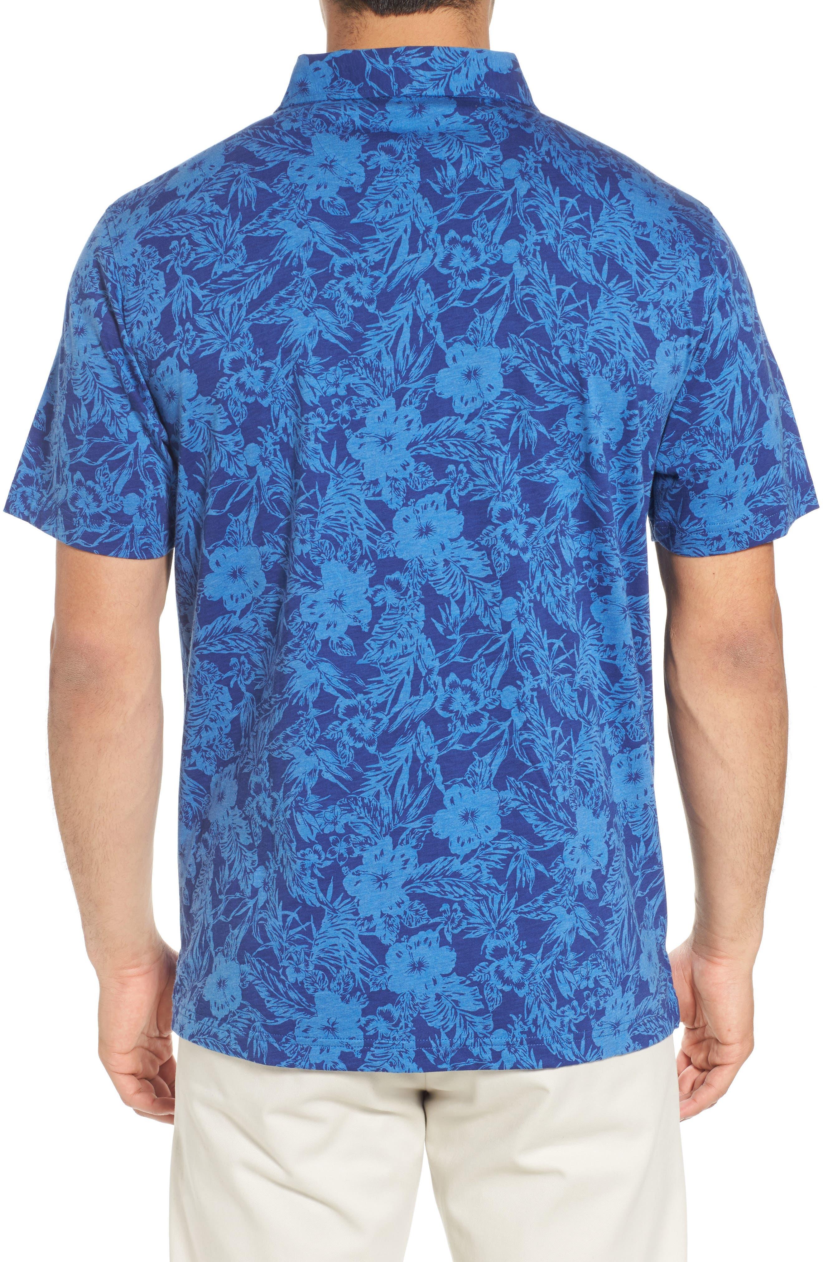 Crown Floral Cotton & Silk Polo Shirt,                             Alternate thumbnail 2, color,                             400