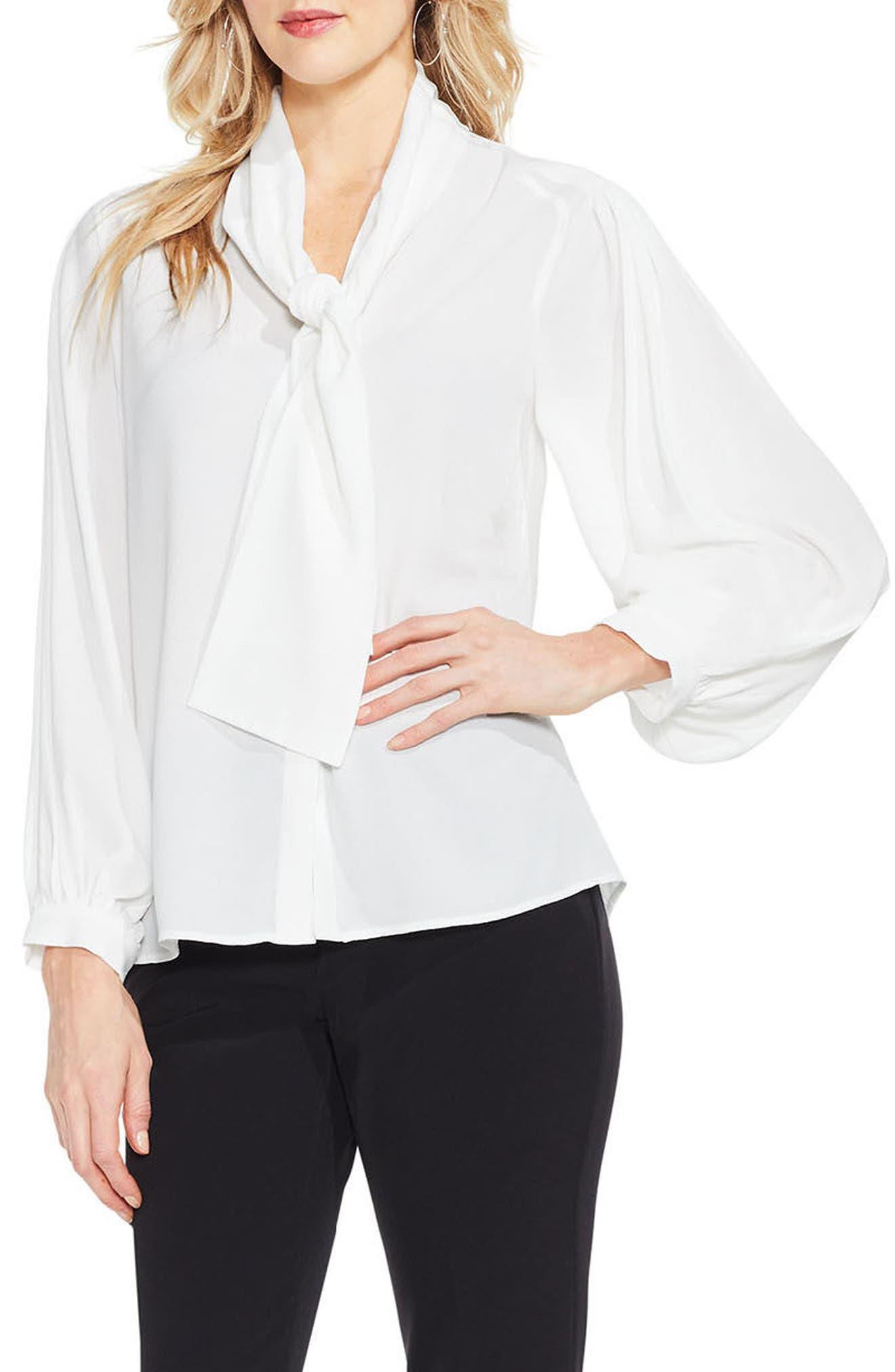 Long Sleeve Tie-Neck Blouse,                         Main,                         color, 108