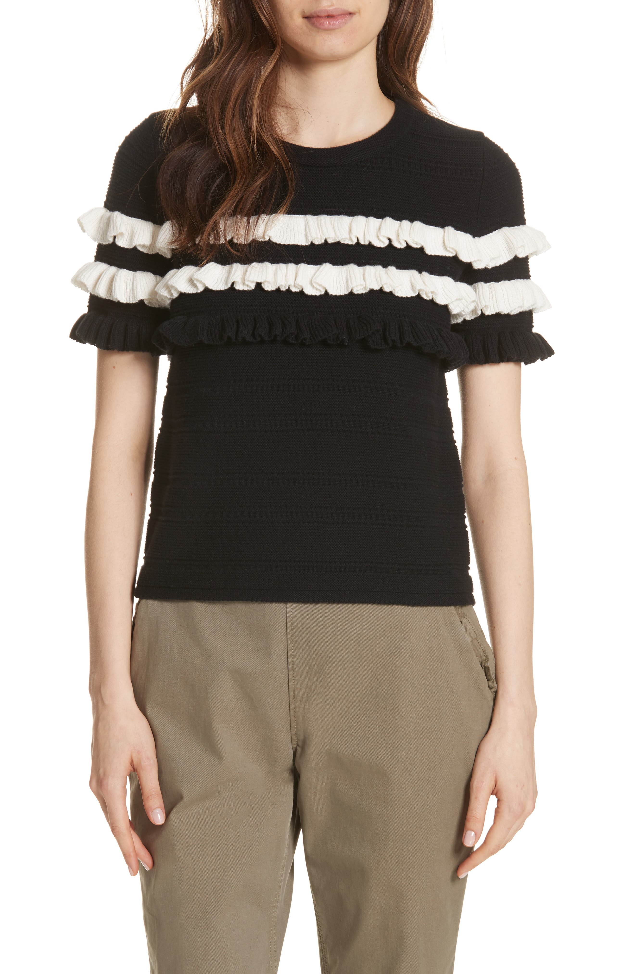 ruffled cotton & cashmere sweater,                         Main,                         color,