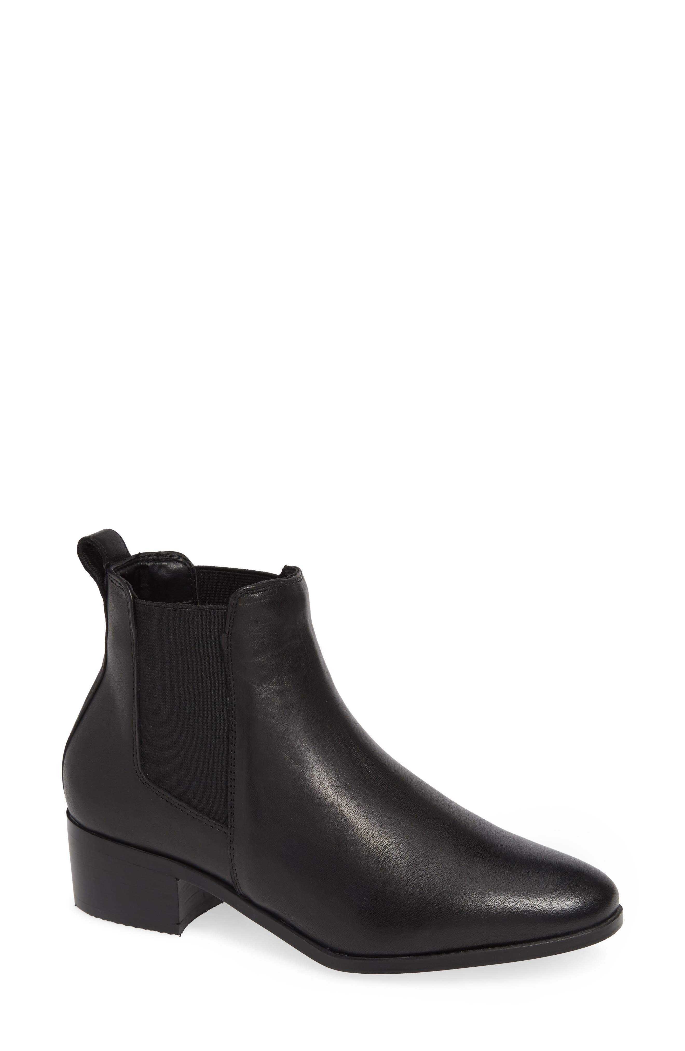 Dover Chelsea Bootie,                             Main thumbnail 1, color,                             BLACK LEATHER