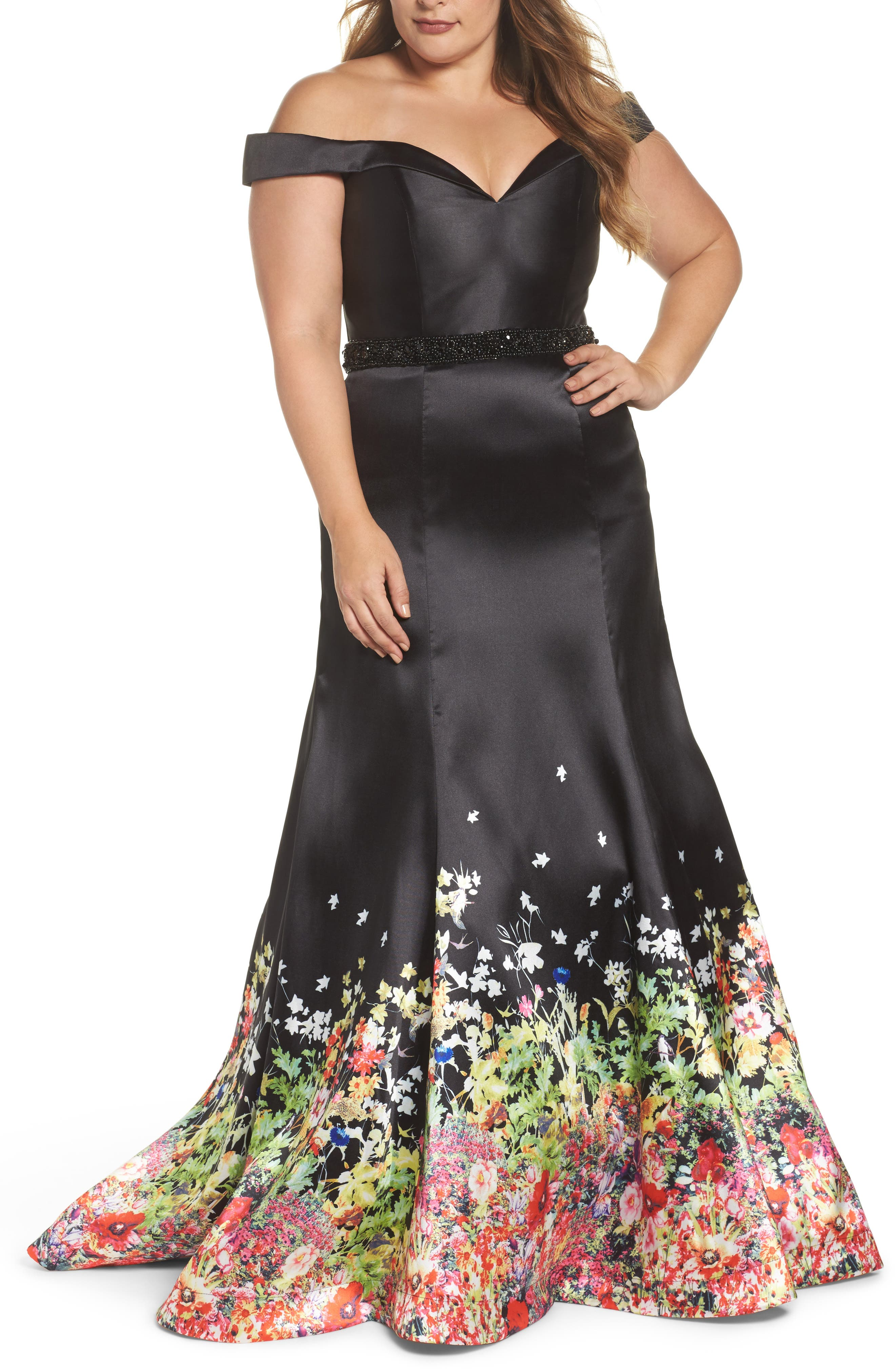 Beaded Waist Off the Shoulder Gown,                             Main thumbnail 1, color,                             BLACK/ MULTI