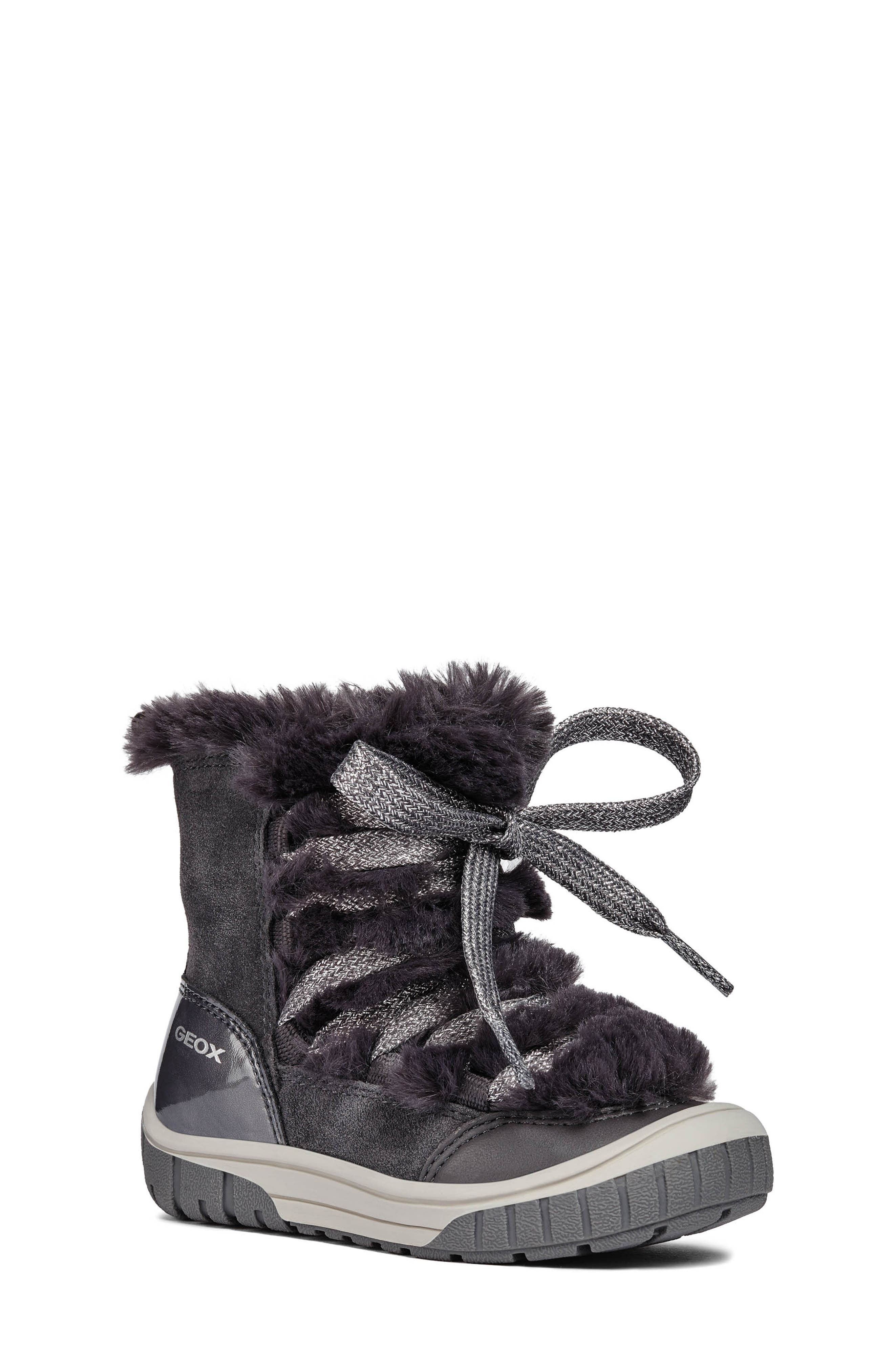 Omar Lace Up Boot with Faux Fur Trim,                         Main,                         color, DARK GREY