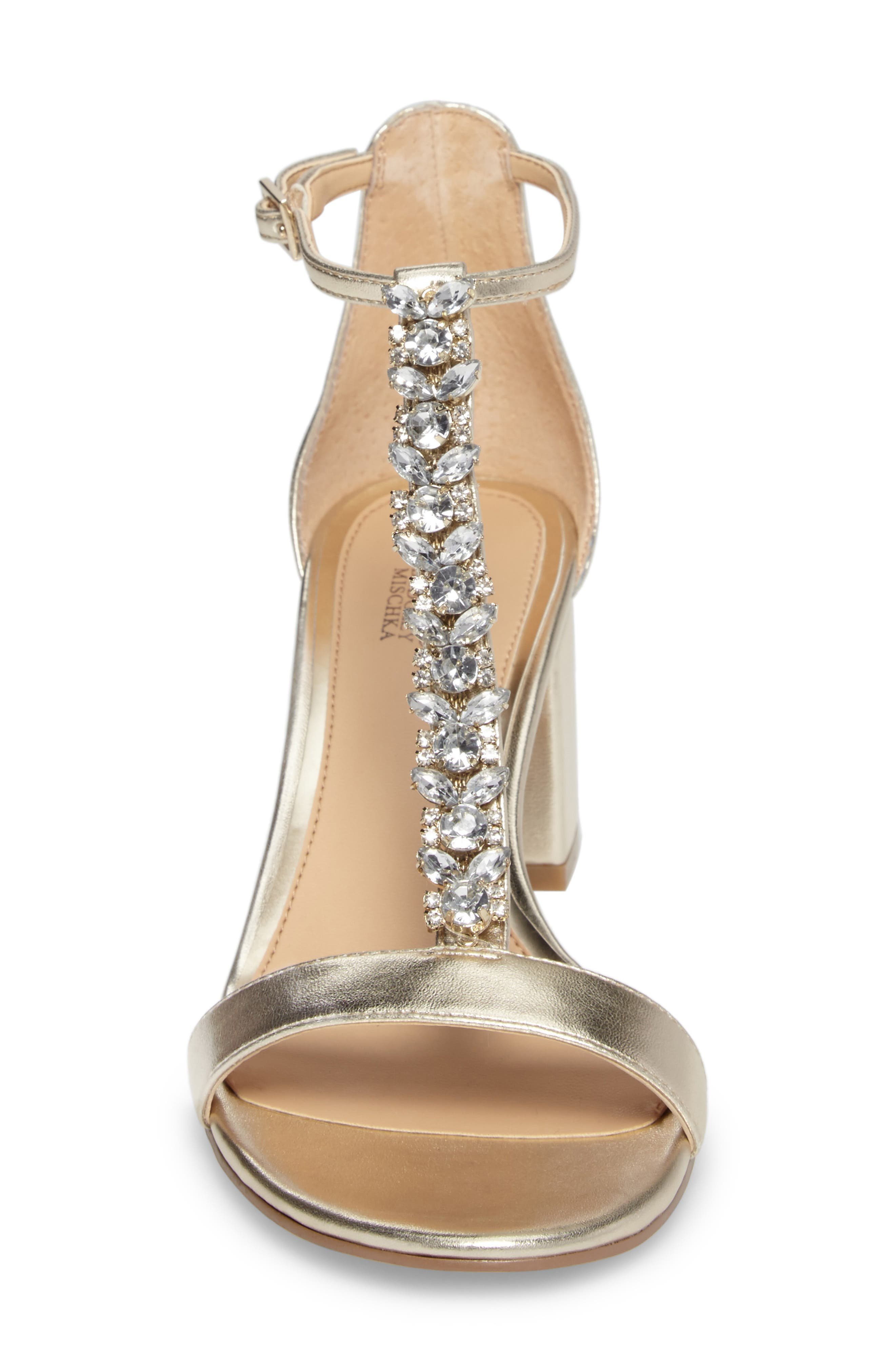 Lindsey Embellished T-Strap Sandal,                             Alternate thumbnail 4, color,                             GOLD LEATHER