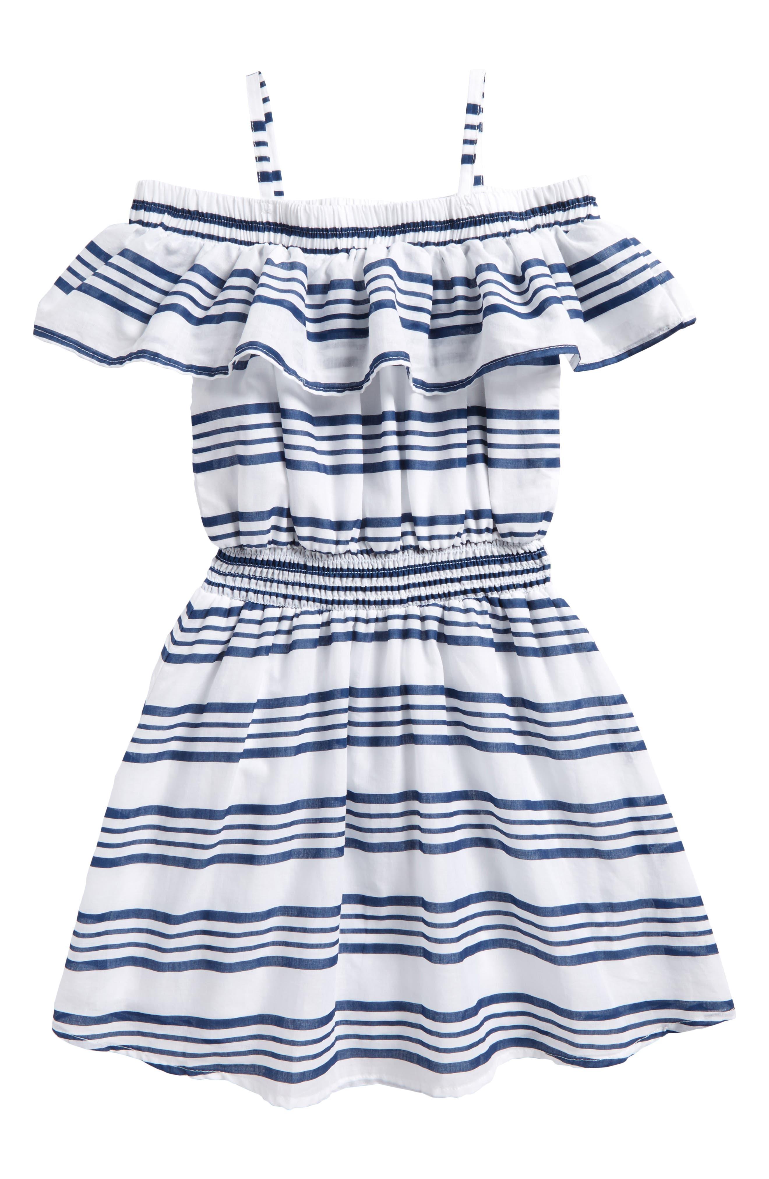 Off the Shoulder Stripe Dress,                             Alternate thumbnail 2, color,