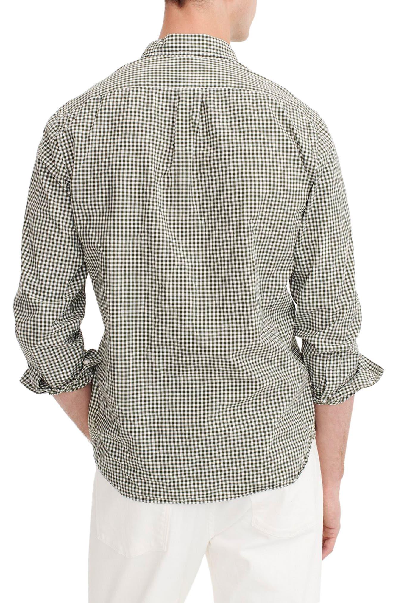 J.CREW Slim Fit Stretch Secret Wash Gingham Sport Shirt, Main, color, 401