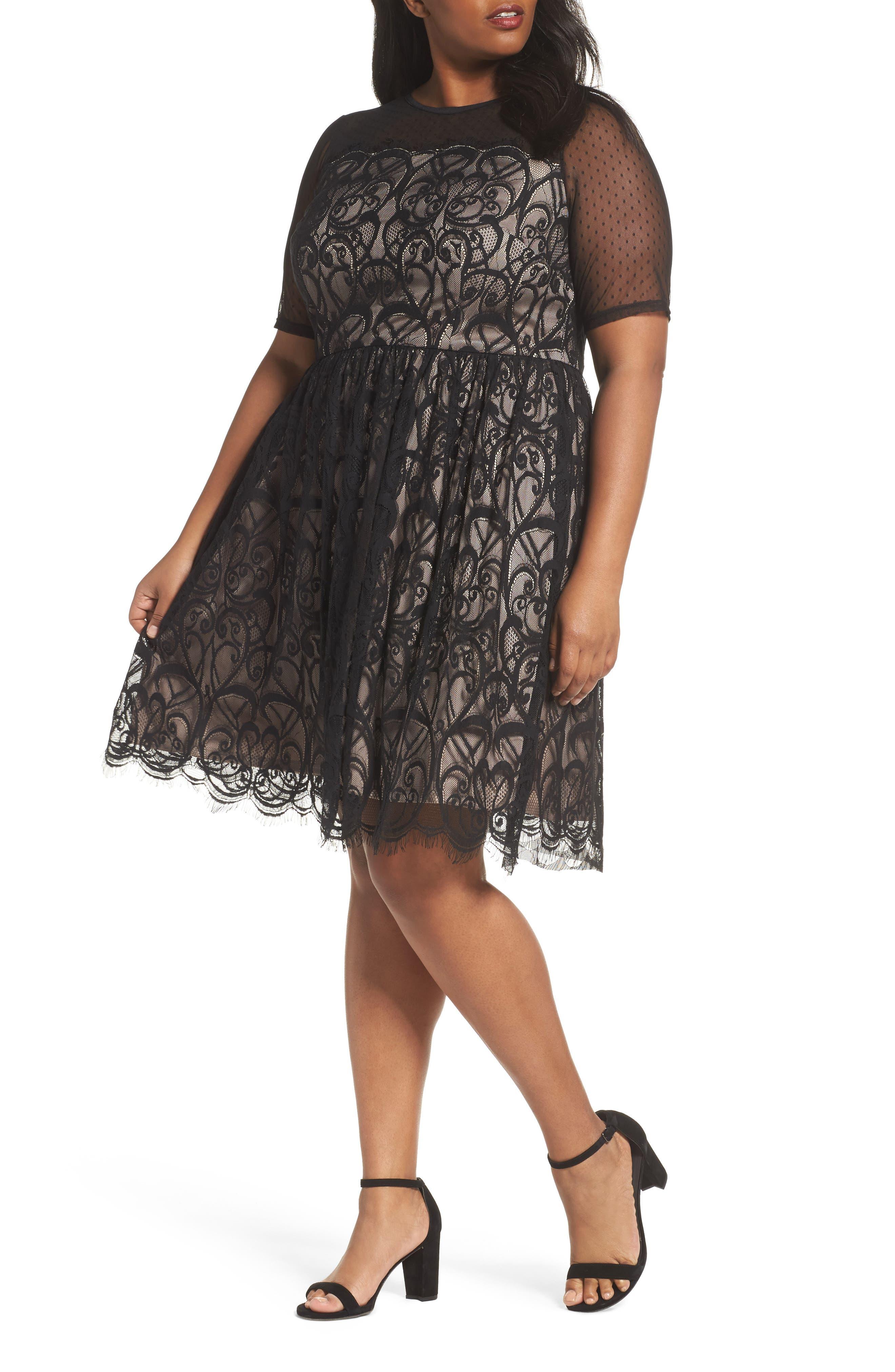 Illusion Lace Fit & Flare Dress,                         Main,                         color, BLACK