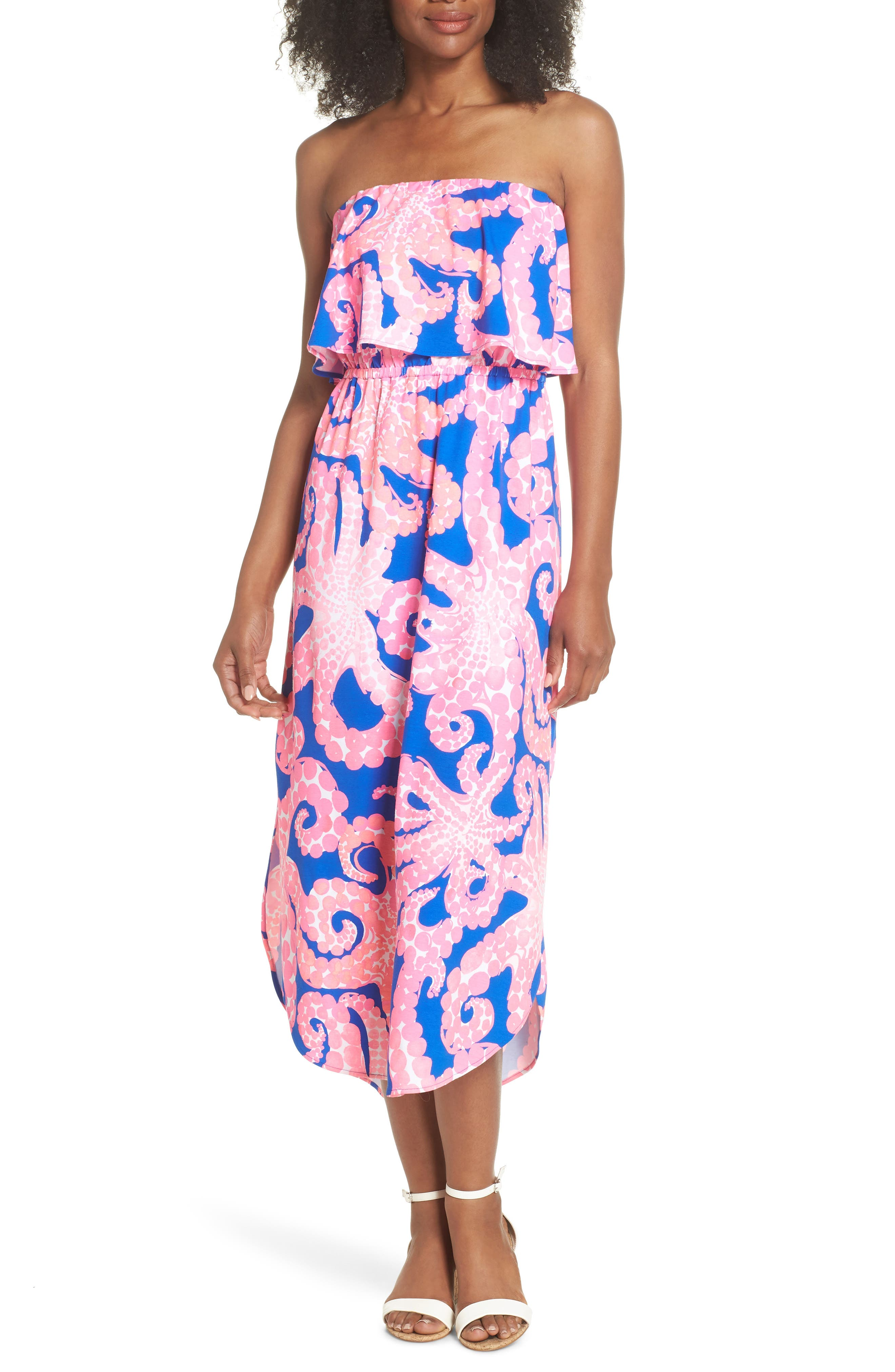 Meridian Strapless Midi Dress,                             Alternate thumbnail 5, color,                             IKAT BLUE MOCEAN