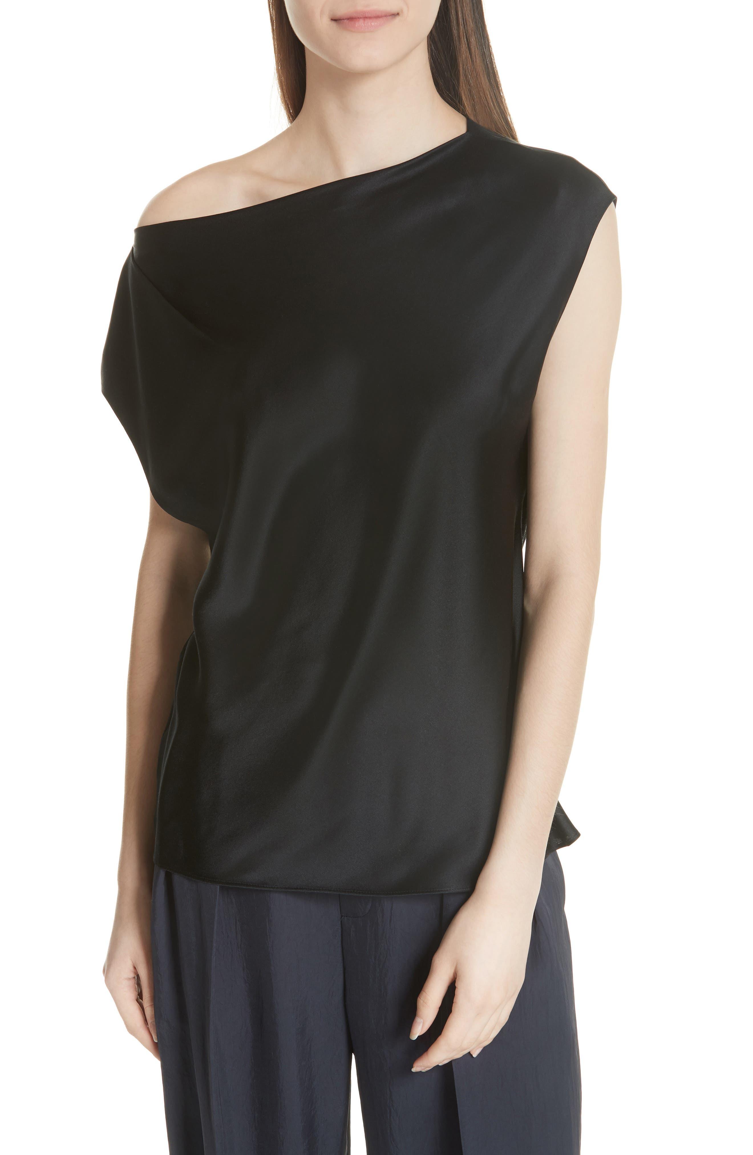 Silk Off the Shoulder Blouse,                         Main,                         color, 001