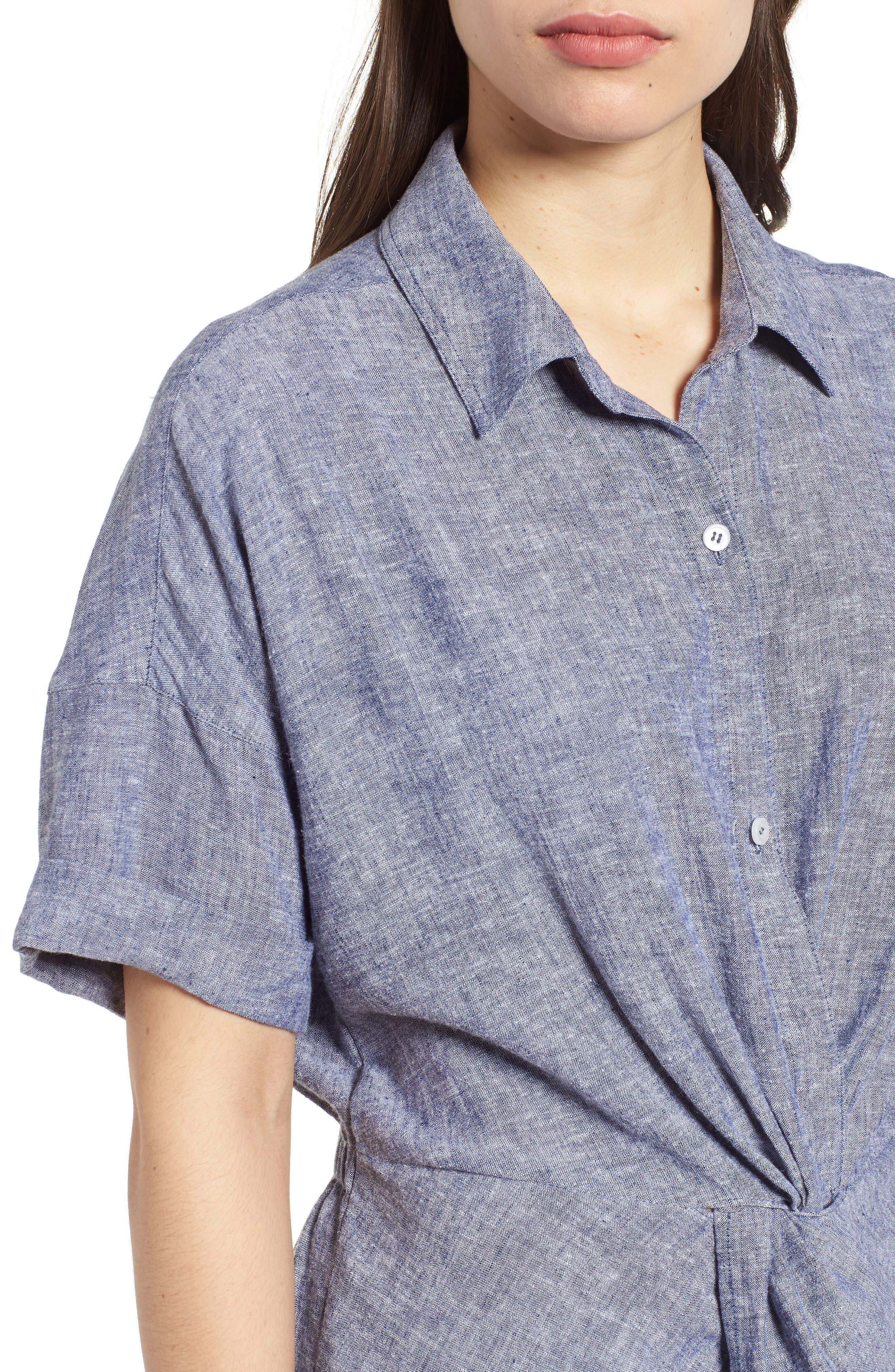 Twist Front Linen Blend Shirt,                             Alternate thumbnail 12, color,