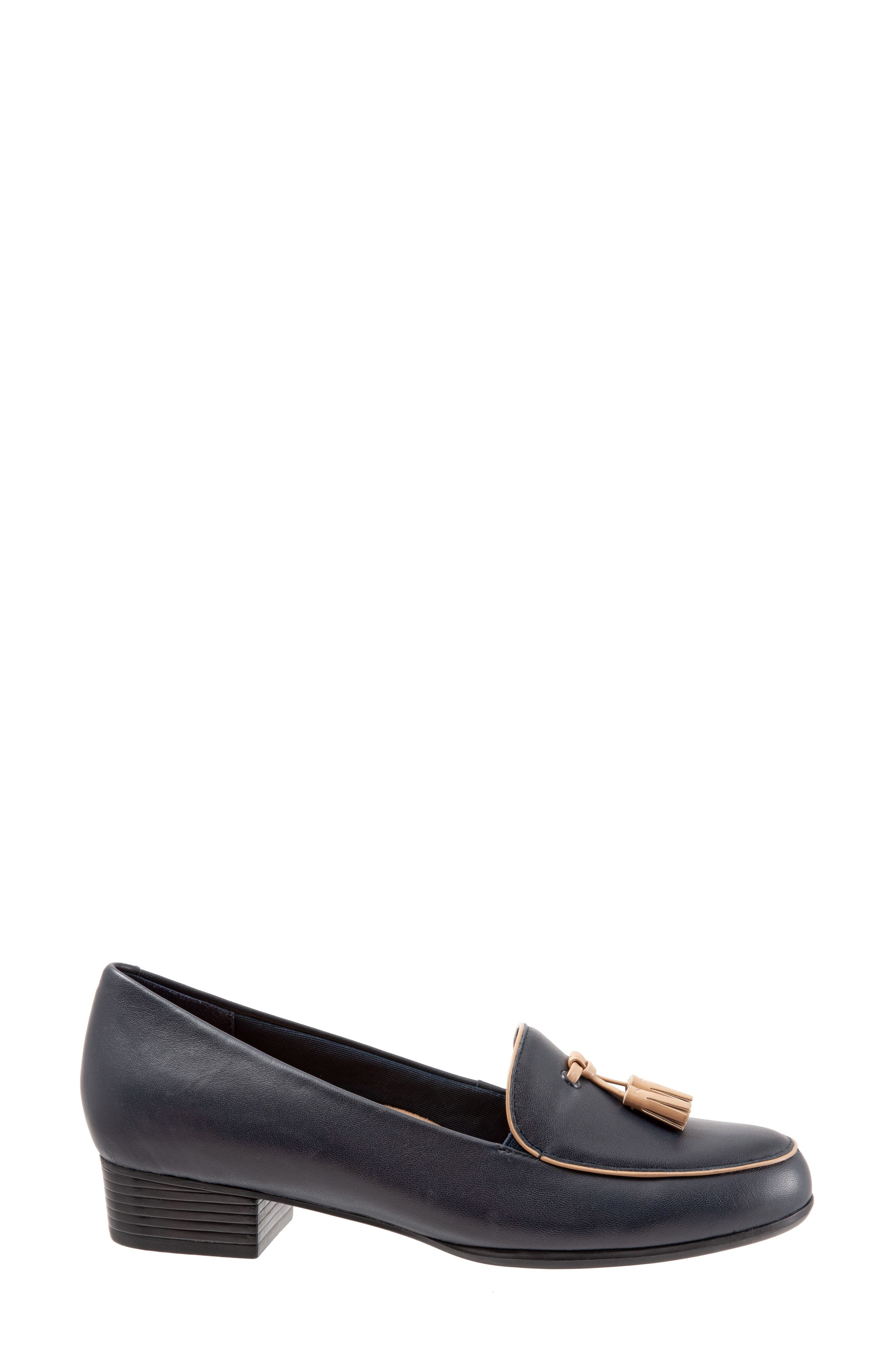 TROTTERS,                             Mary Tassel Loafer,                             Alternate thumbnail 3, color,                             NAVY LEATHER
