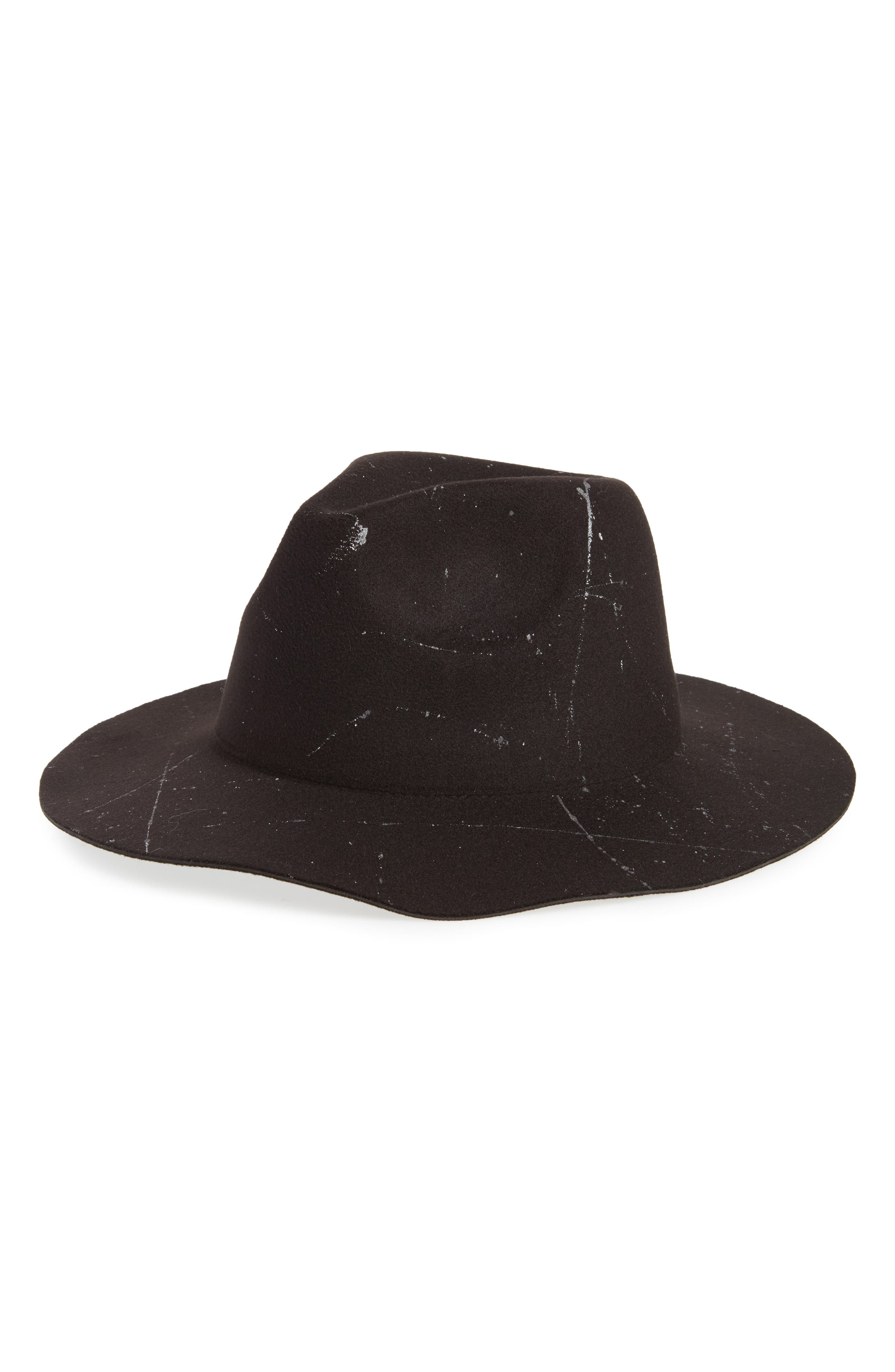 Marbled Paint Felt Panama Hat,                             Main thumbnail 1, color,                             001