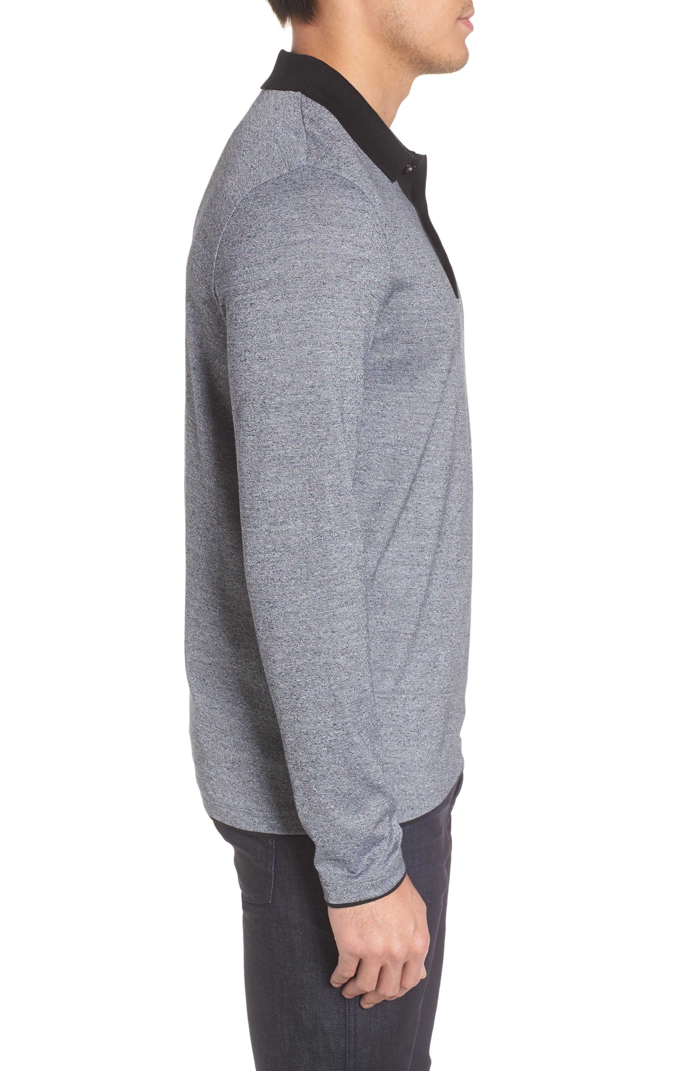 Paschal Mouline Slim Fit Polo Shirt,                             Alternate thumbnail 3, color,                             001