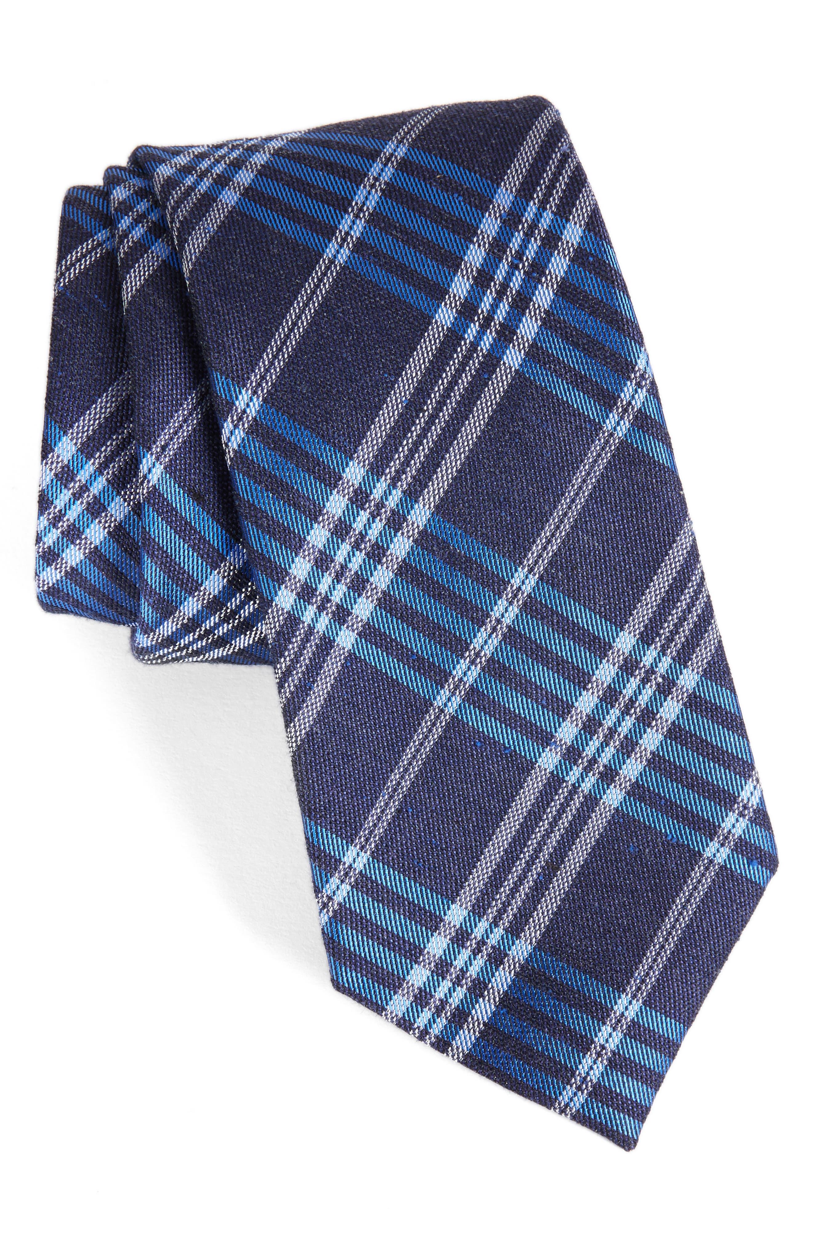 School Plaid Silk & Cotton Tie,                             Main thumbnail 2, color,