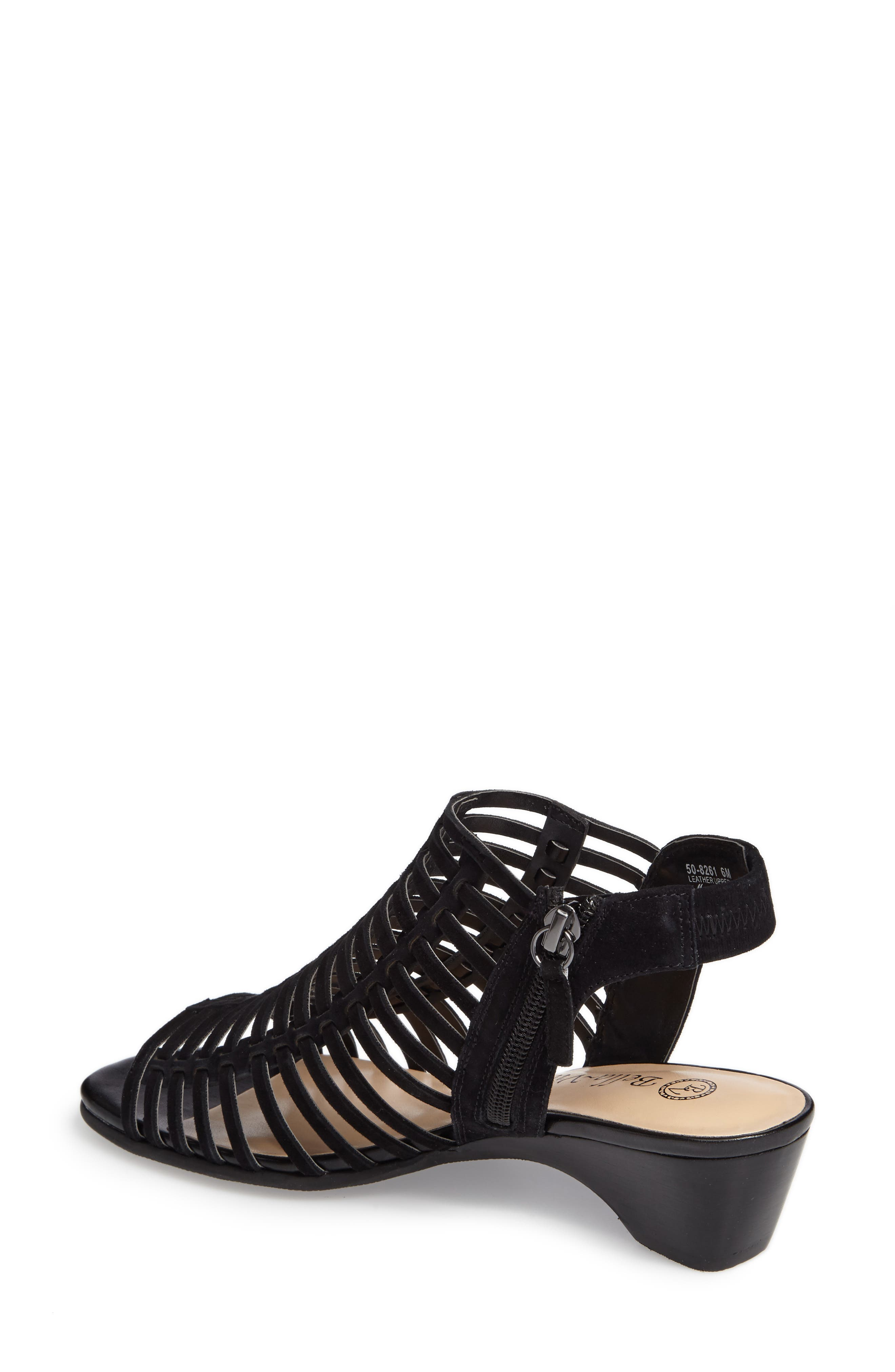 Pacey Cage Sandal,                             Alternate thumbnail 2, color,                             BLACK SUEDE