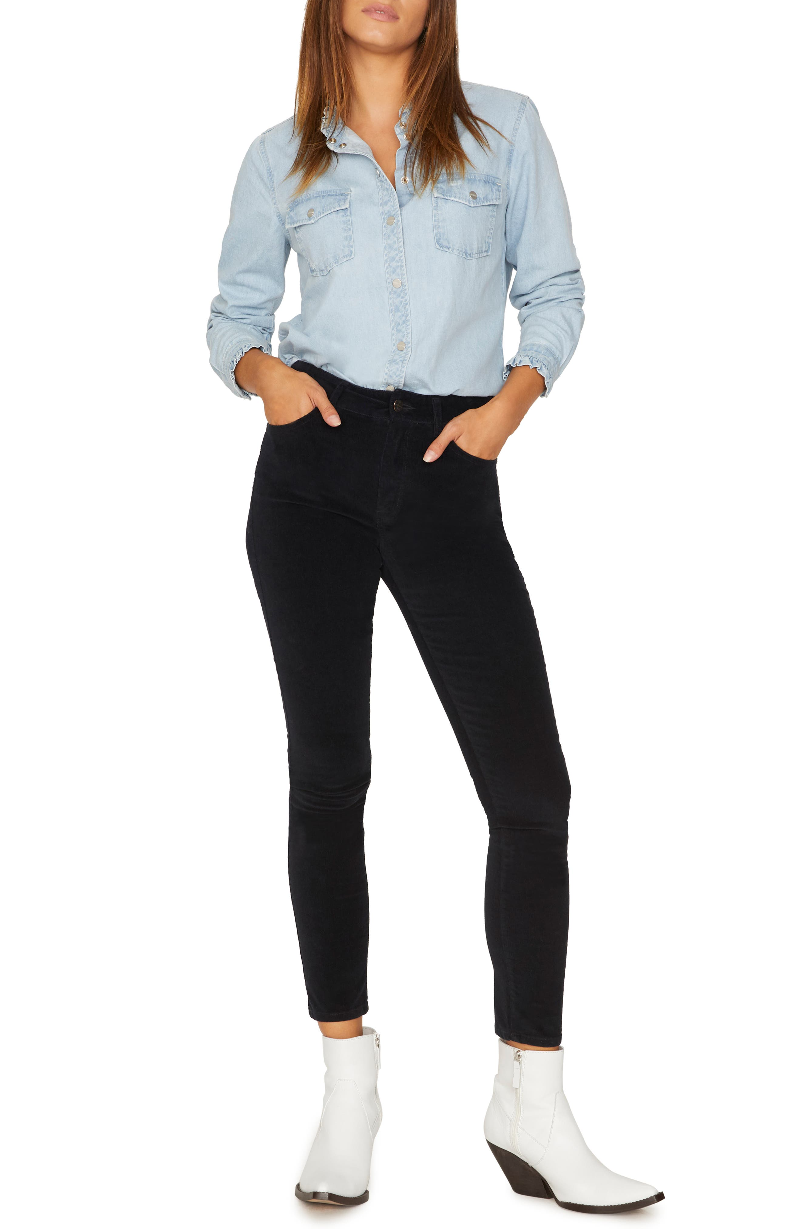 Social Standard Skinny Corduroy Pants,                             Alternate thumbnail 4, color,                             BLACK