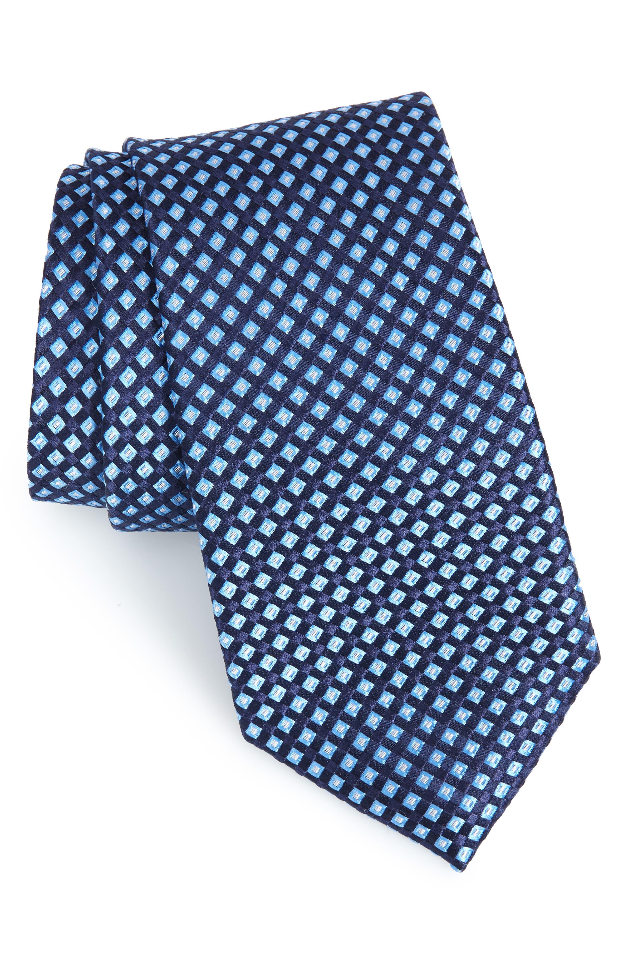 Milton Micro Silk Tie,                         Main,                         color, TRUE NAVY