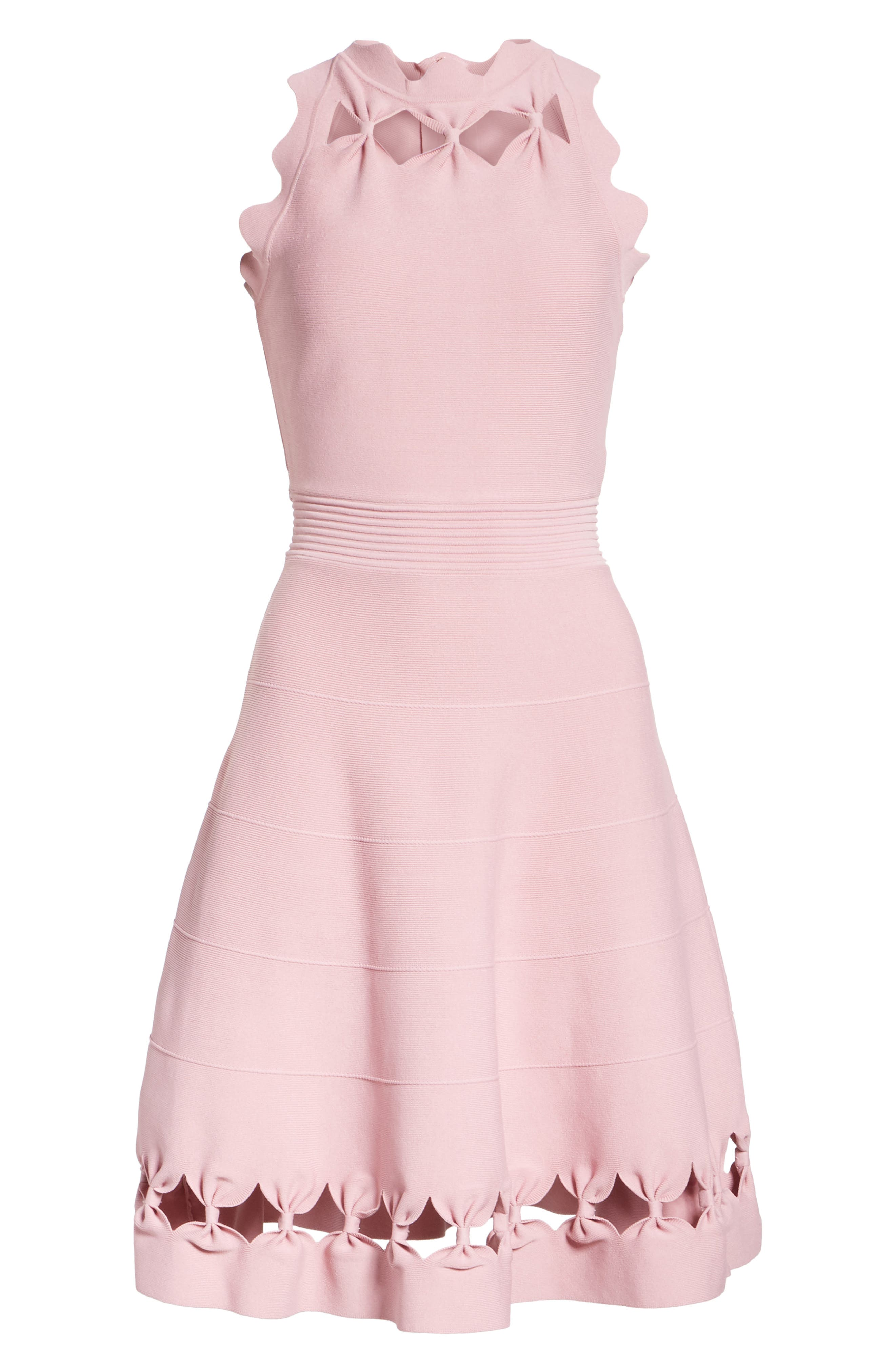 Bow Detail Knit Fit & Flare Dress,                             Alternate thumbnail 7, color,