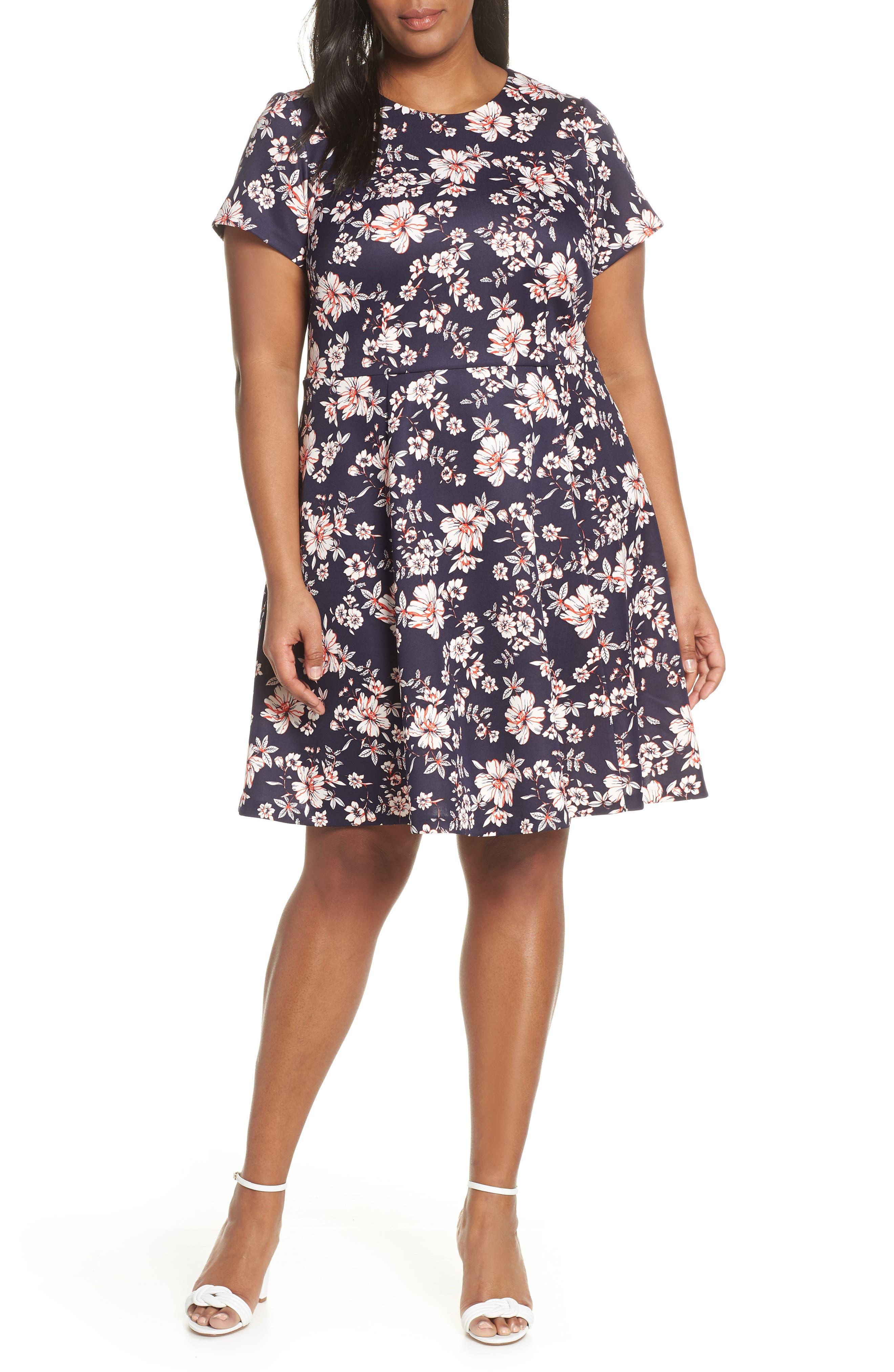 Plus Size Vince Camuto Floral Scuba Crepe Fit & Flare Dress, Blue
