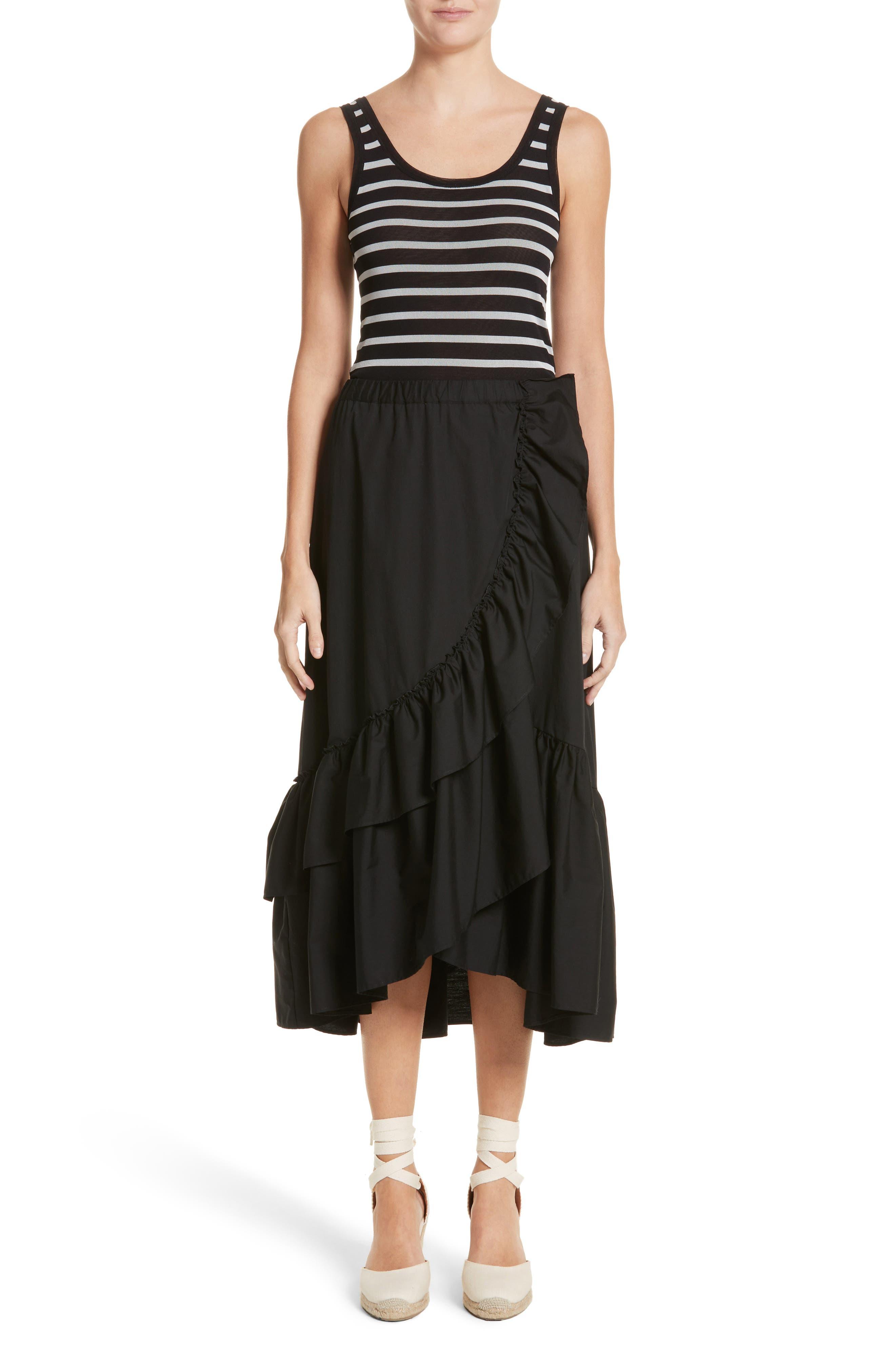 FUZZI,                             Ruffled Poplin Skirt,                             Alternate thumbnail 7, color,                             001