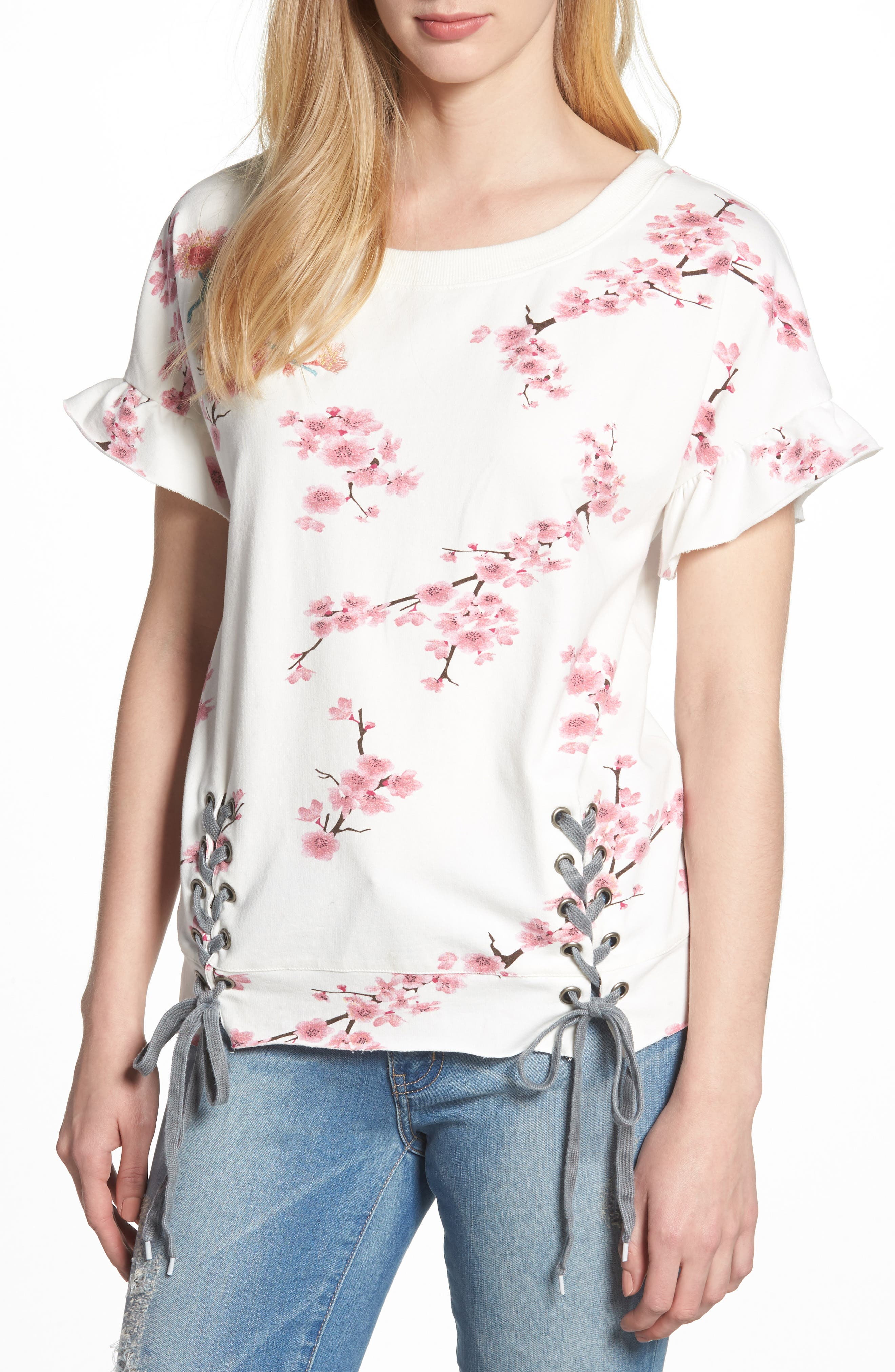 Cherry Blossom Short Sleeve Lace-Up Sweatshirt,                         Main,                         color, WHITE CHERRY BLOSSOM