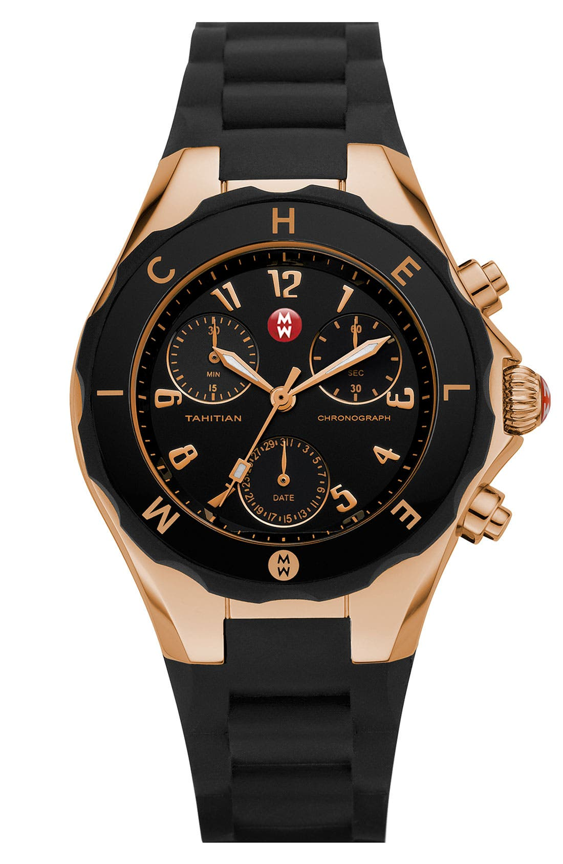 MICHELE 'Tahitian Jelly Bean' 40mm Gold Watch, Main, color, 001