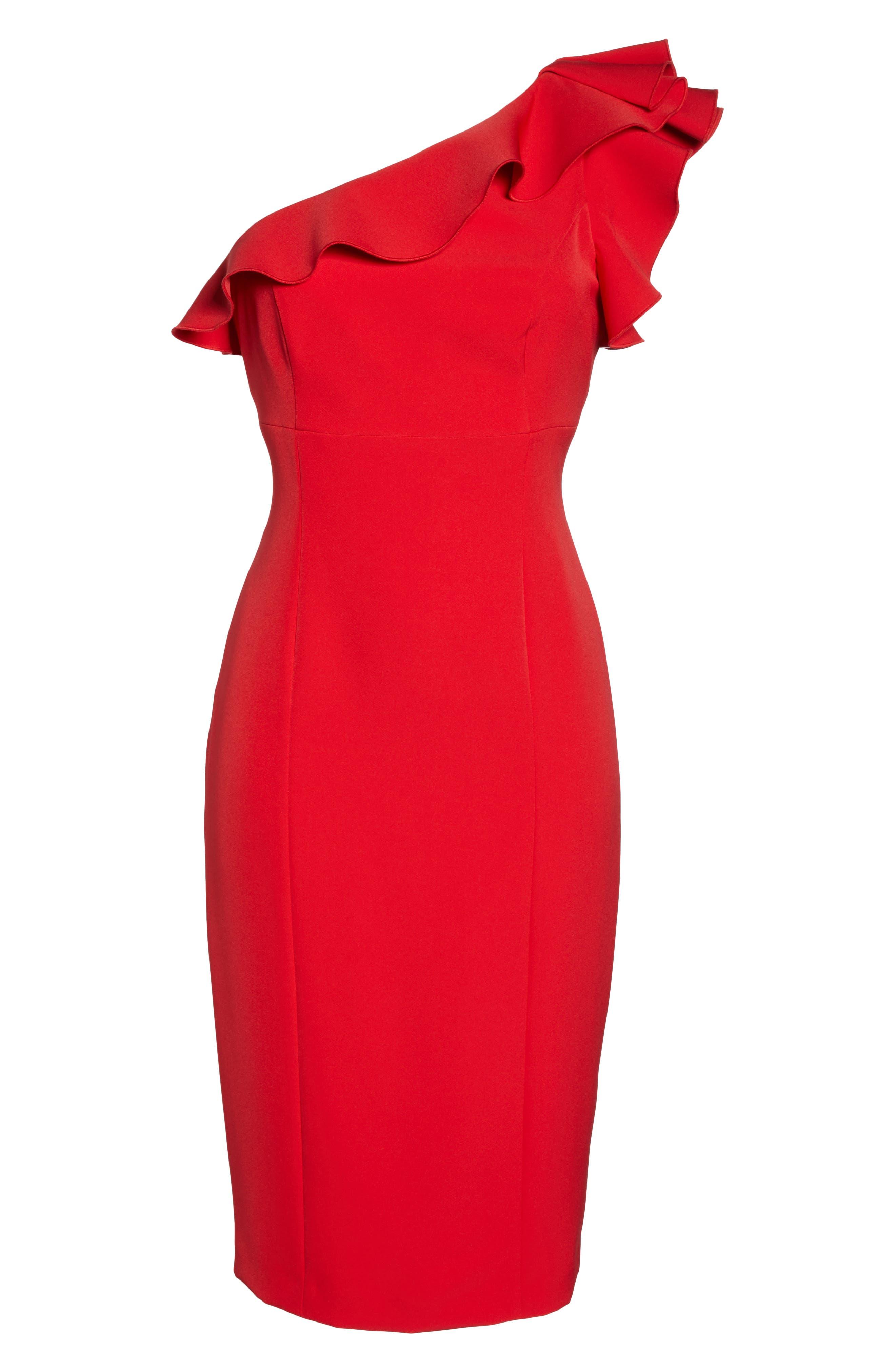 Ruffle One-Shoulder Dress,                             Alternate thumbnail 6, color,