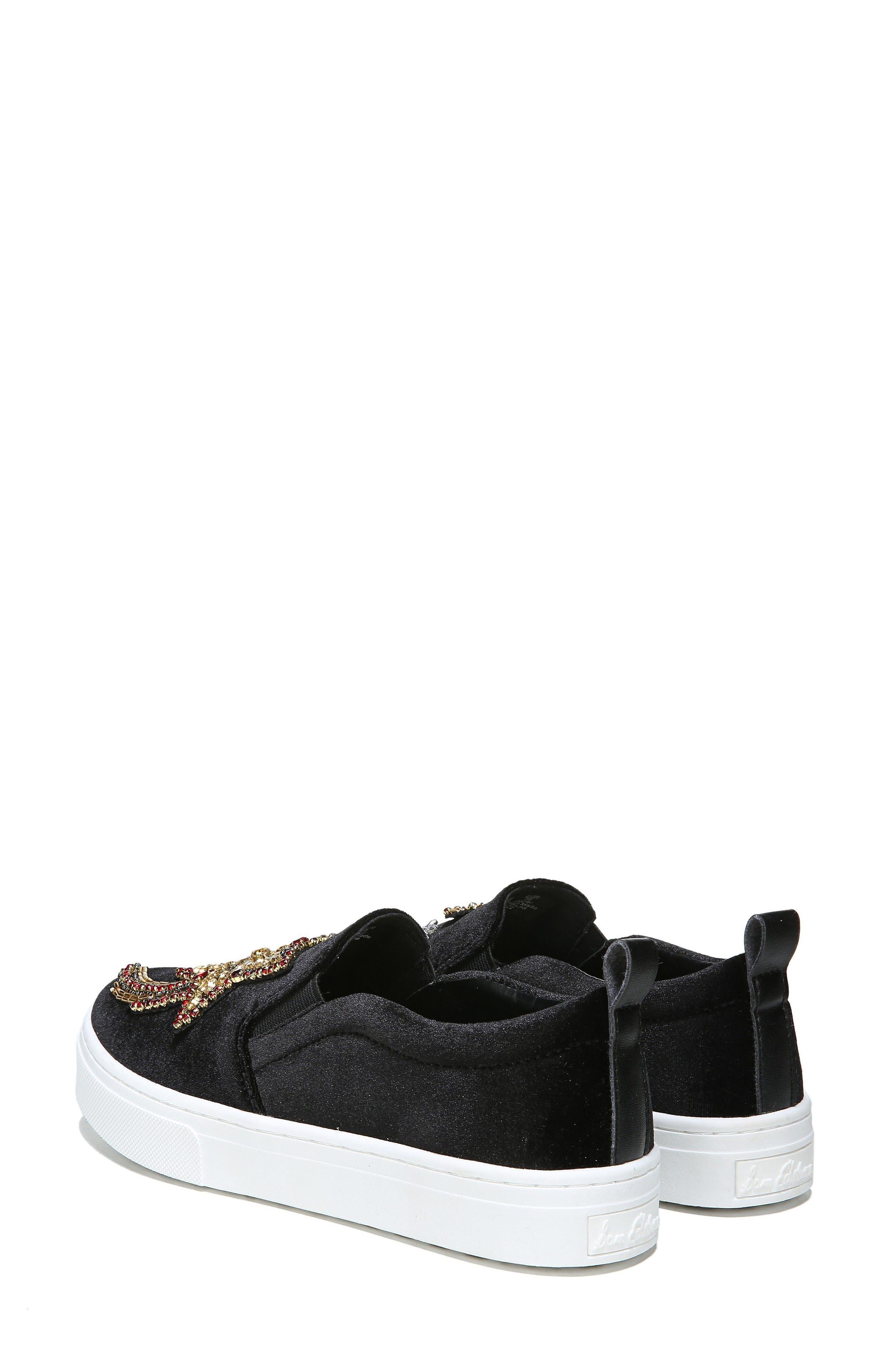 Leila Embellished Platform Sneaker,                             Alternate thumbnail 7, color,                             001