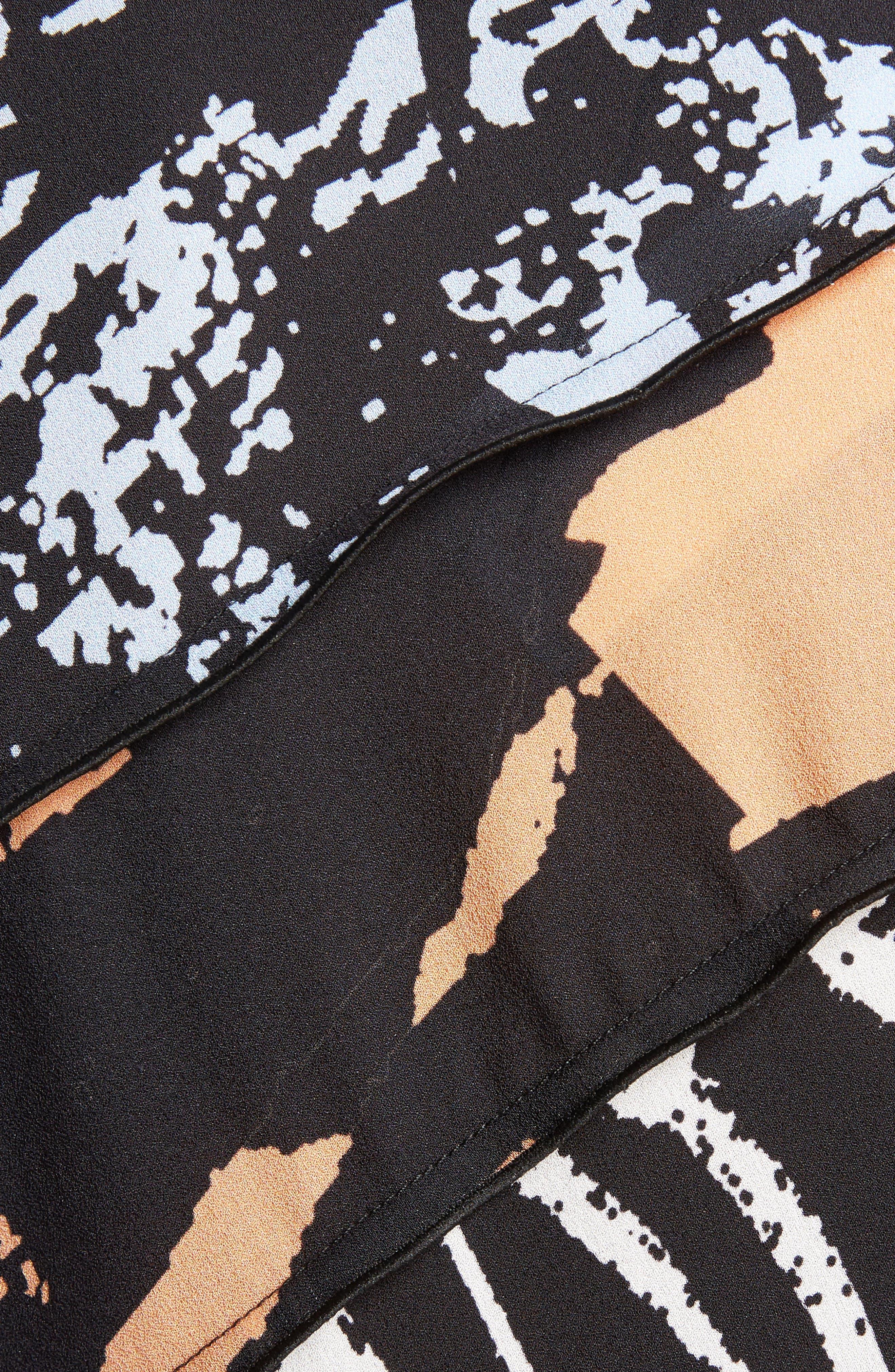 Print Silk Georgette Asymmetrical Top,                             Alternate thumbnail 5, color,                             400