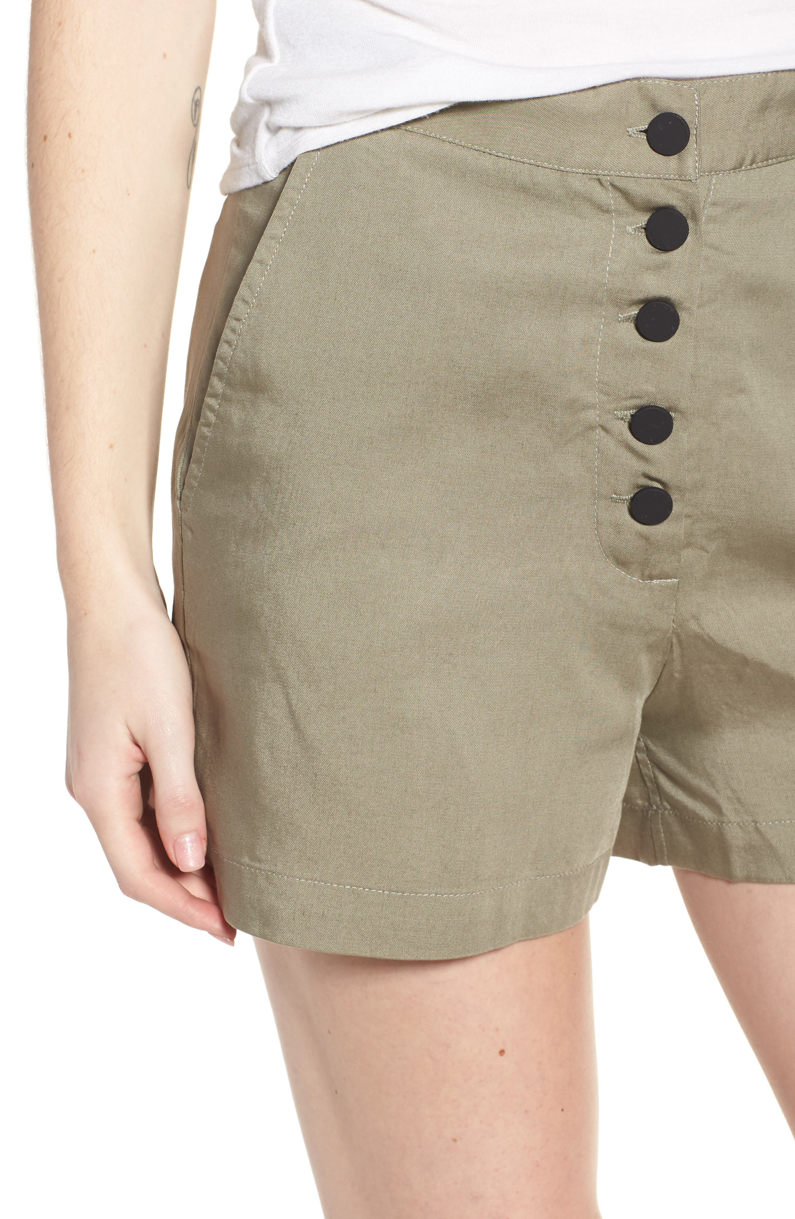 High Waist Shorts,                             Alternate thumbnail 4, color,                             SEA GRASS