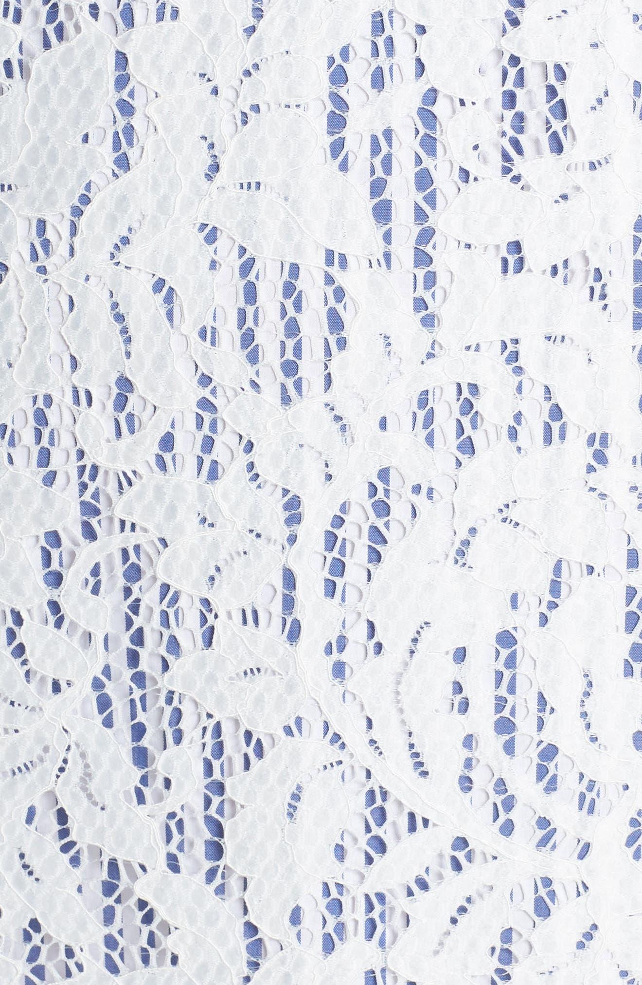 Pinstripe Lace Overlay Shift Dress,                             Alternate thumbnail 6, color,                             WHITE/ BLUE