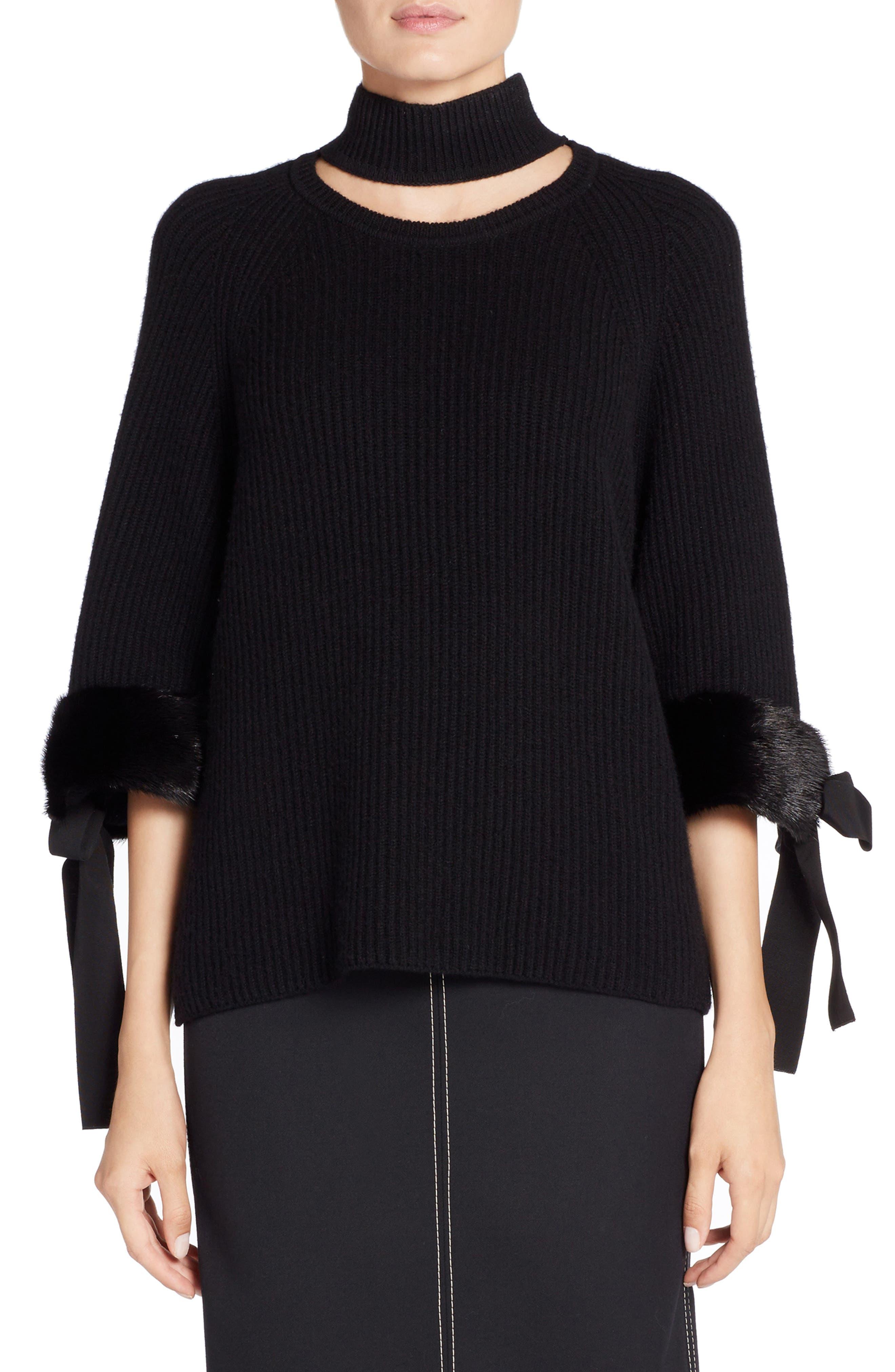 Cashmere & Genuine Mink Fur Sweater,                         Main,                         color, BLACK