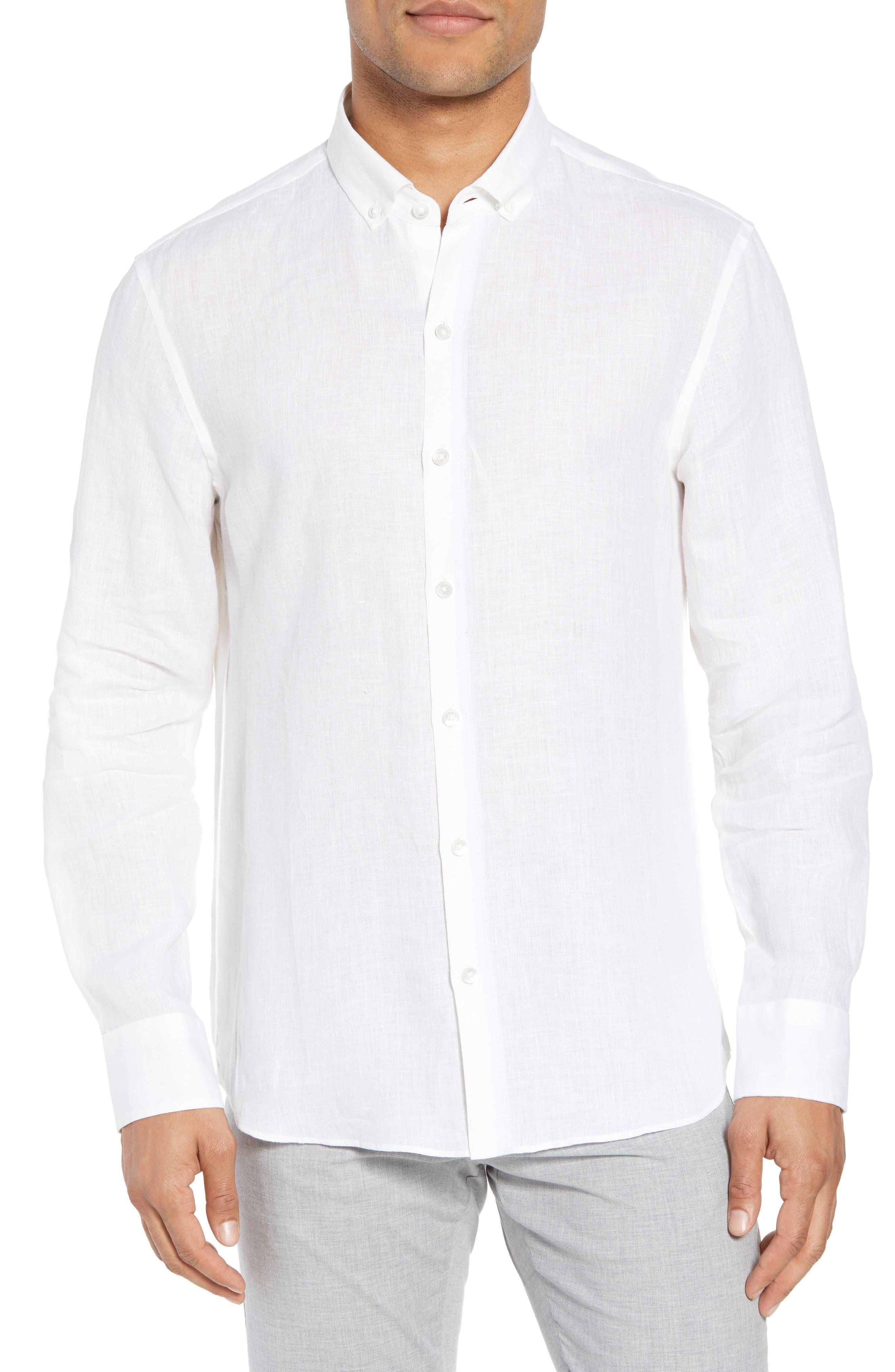 Yang Linen Sport Shirt,                         Main,                         color, WHITE