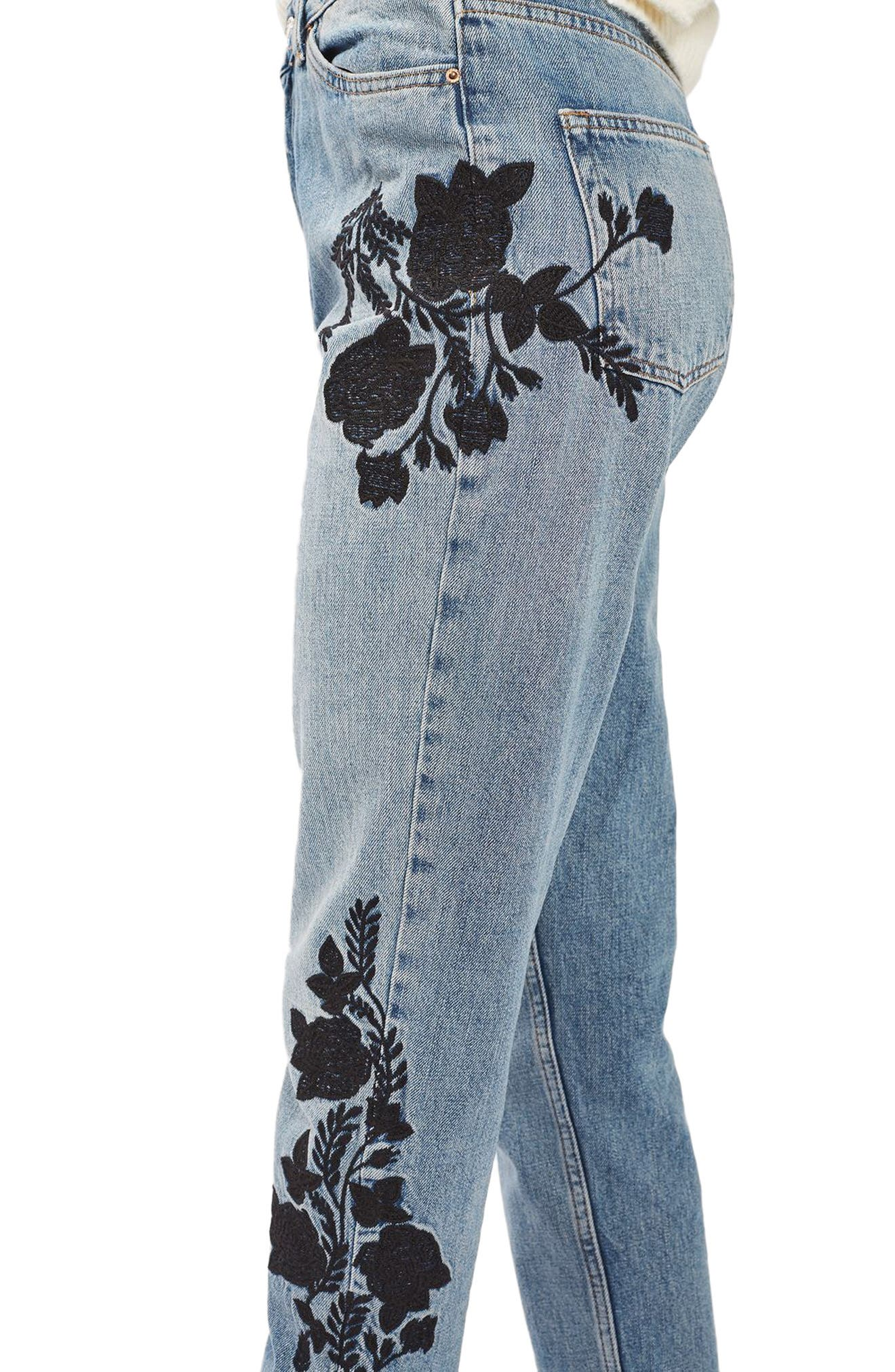 Embroidered Mom Jeans,                             Alternate thumbnail 3, color,                             420