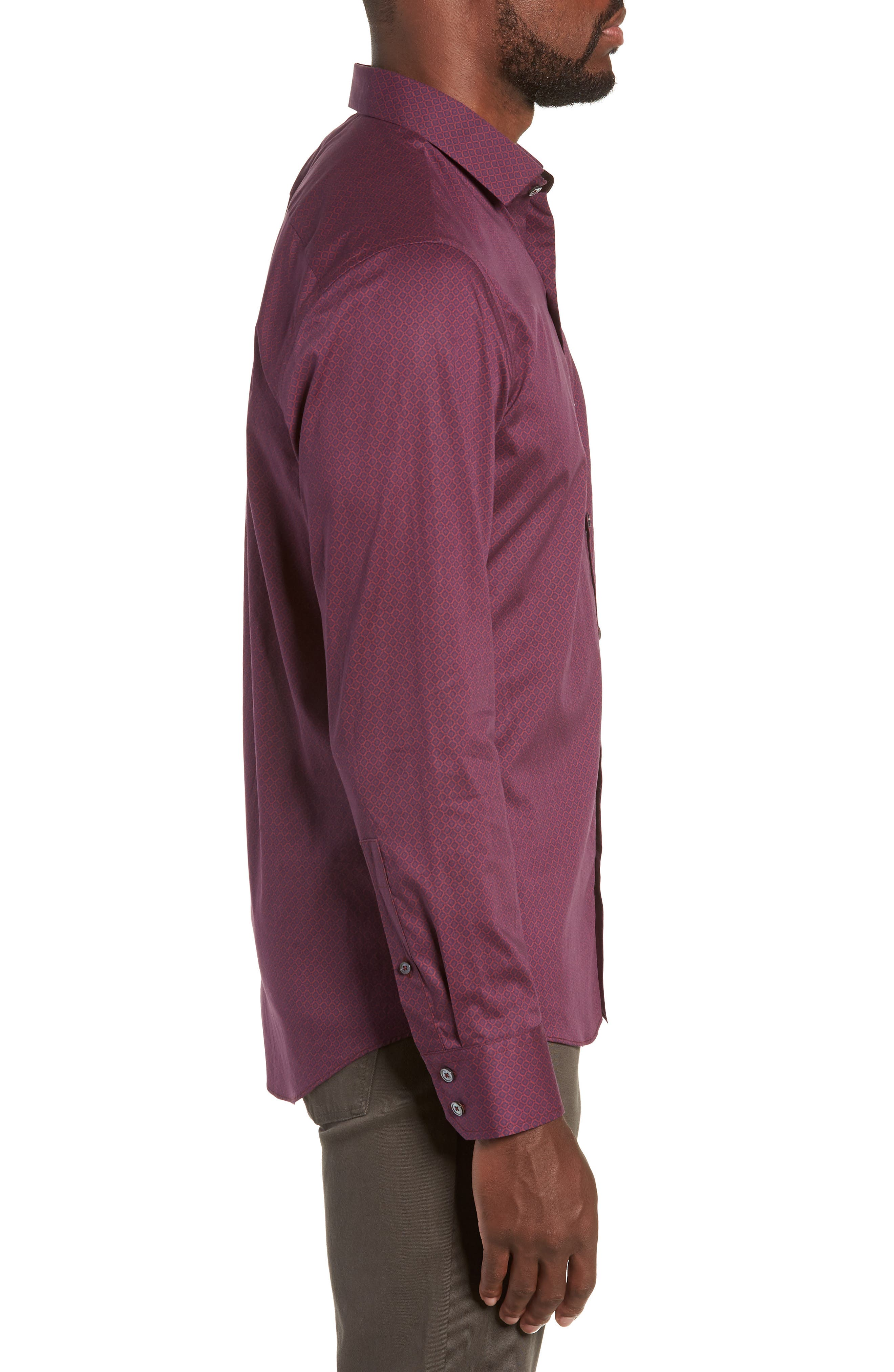 Shamus Regular Fit Sport Shirt,                             Alternate thumbnail 4, color,                             MAROON