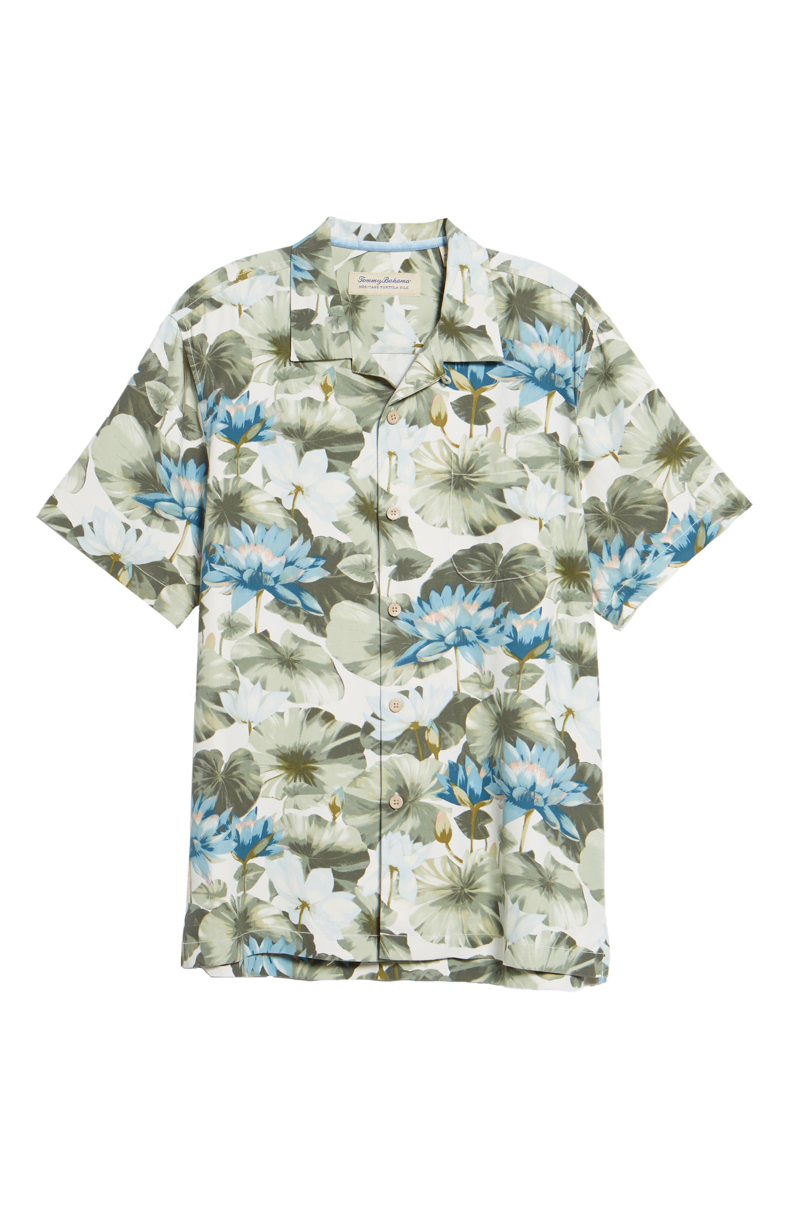 Lagoon Lotus Original Fit Silk Camp Shirt,                             Alternate thumbnail 6, color,                             100