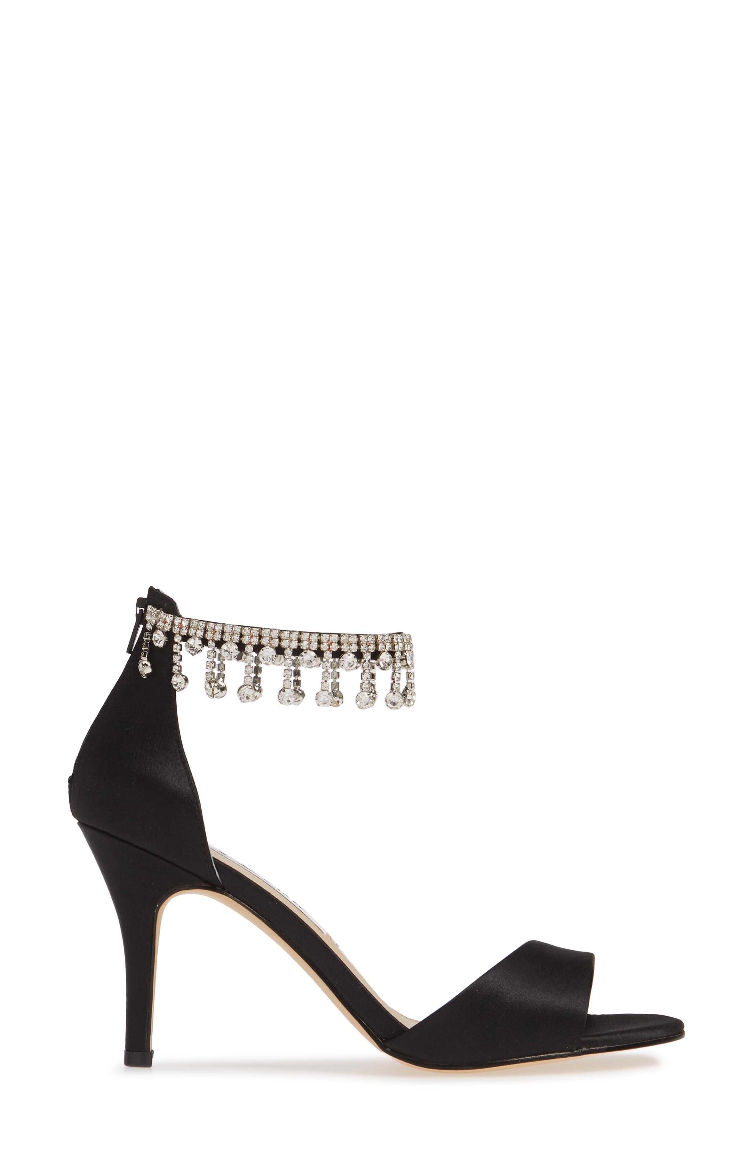 Vera Embellished Ankle Strap Sandal,                             Alternate thumbnail 3, color,                             BLACK SATIN