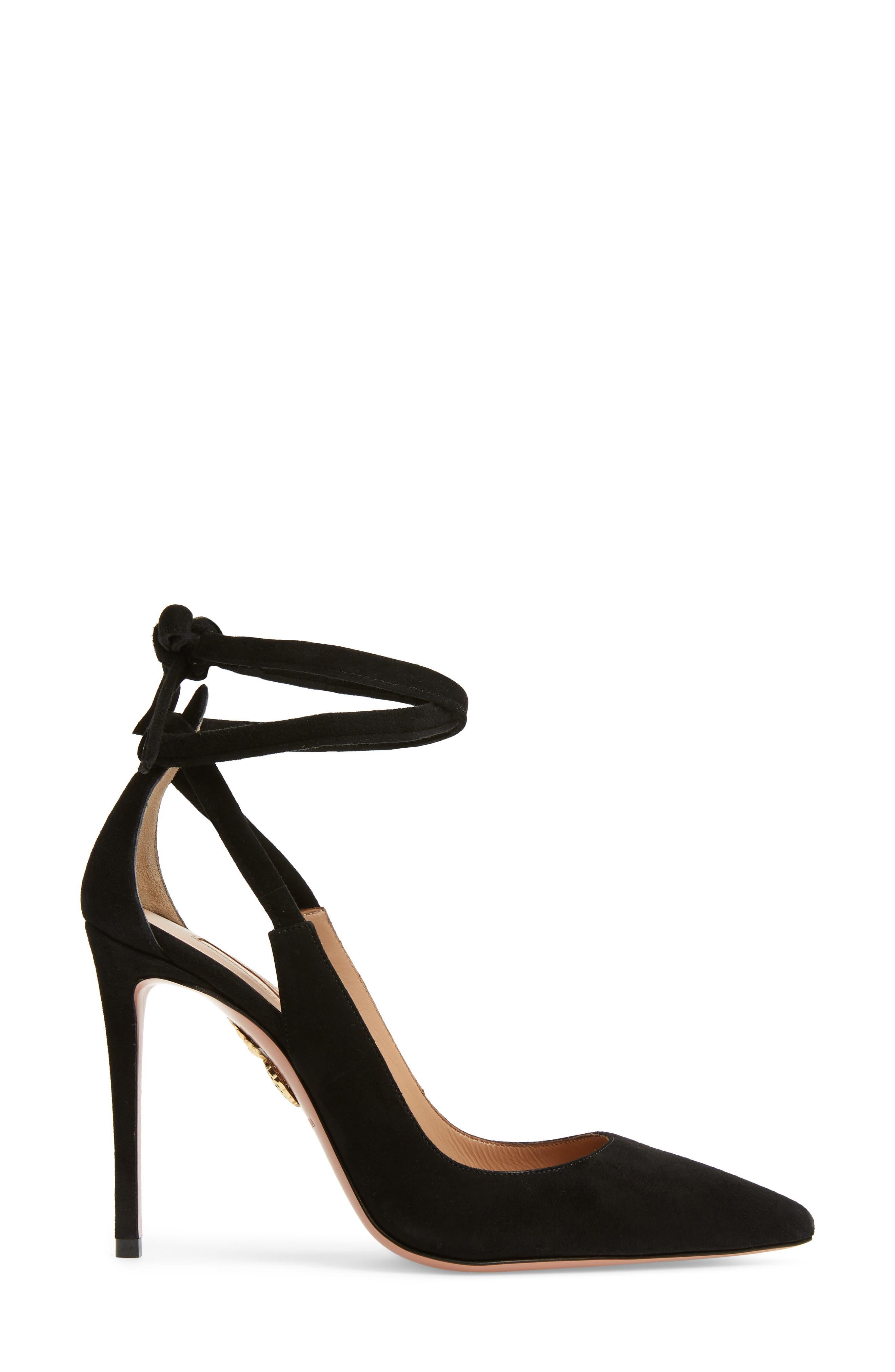 Milano Ankle Tie Pump,                             Alternate thumbnail 3, color,                             BLACK