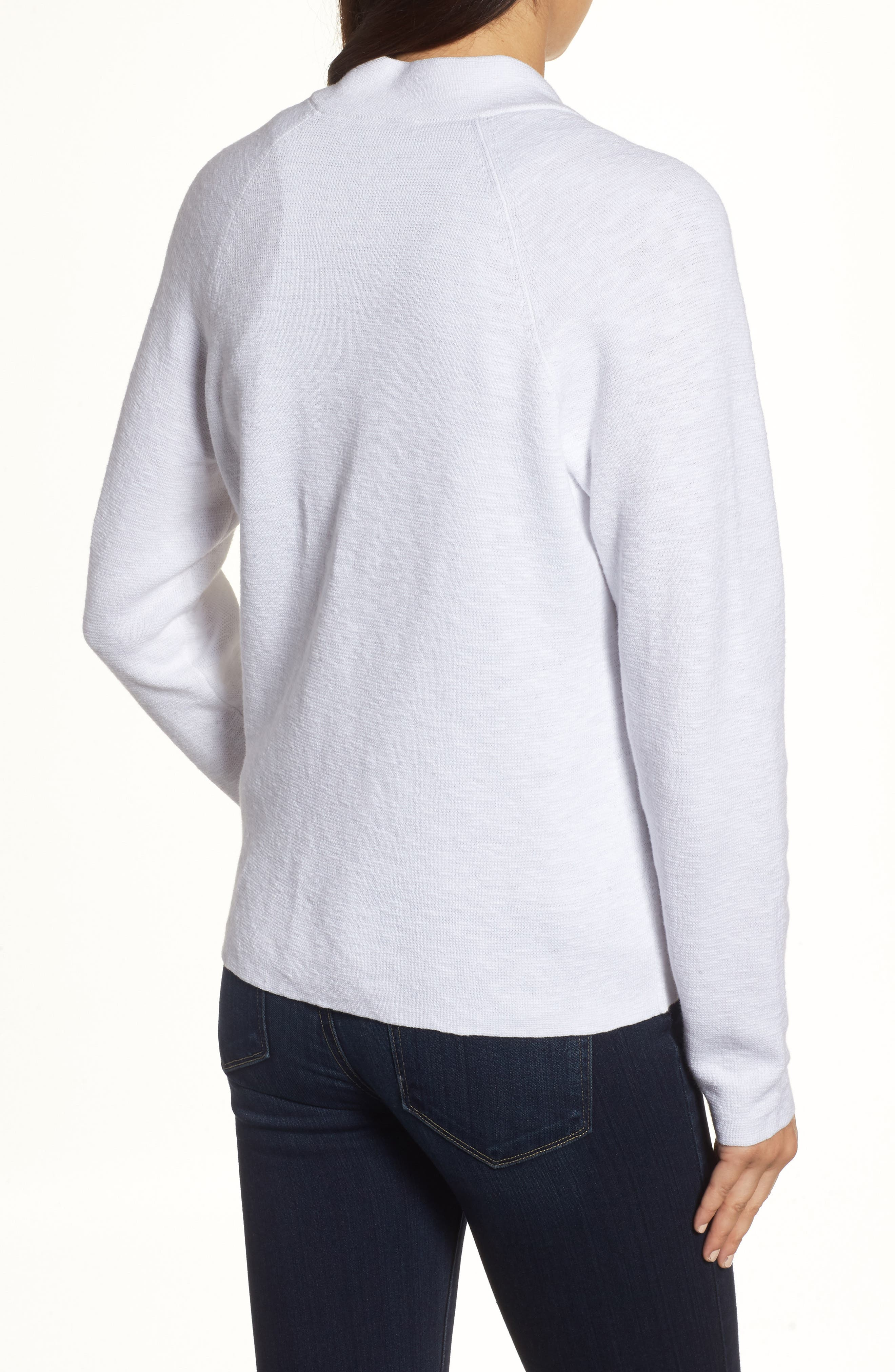 Organic Linen & Cotton Bomber Cardigan,                             Alternate thumbnail 2, color,                             100