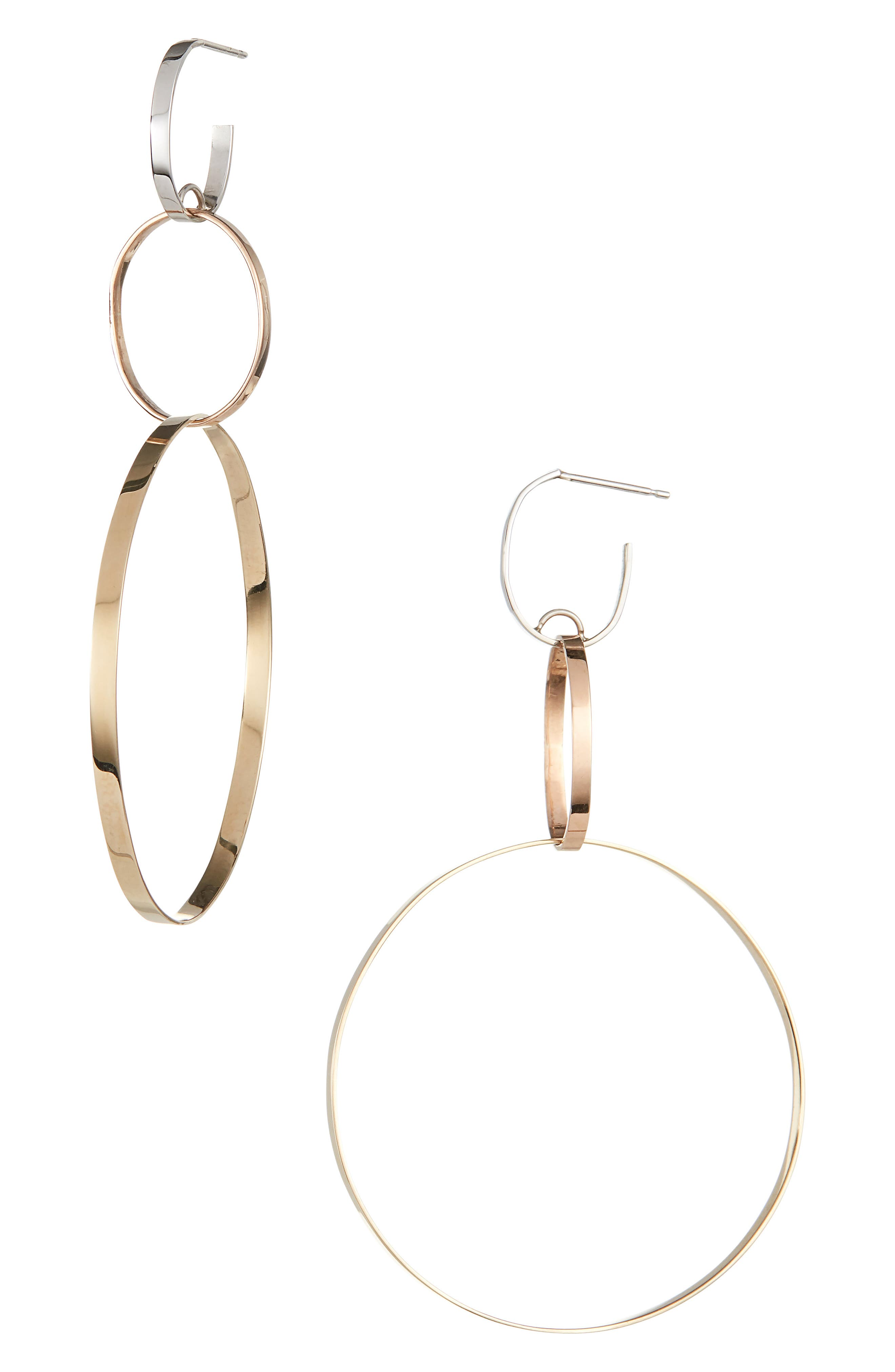 LANA JEWELRY 14K Tricolor Gold 3-Link Hoop Earrings in Gold/ Rose Gold/ White Gold