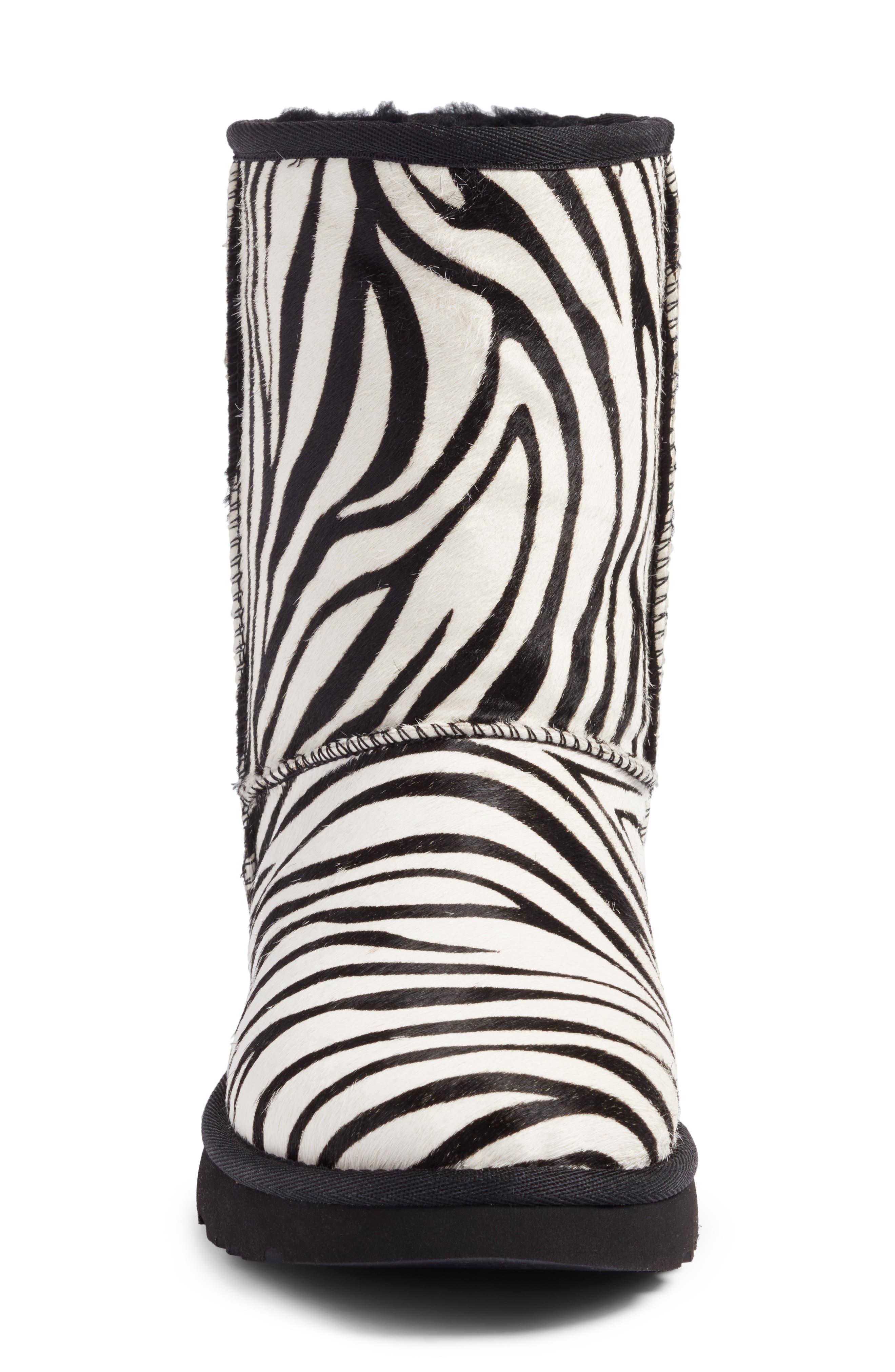 Classic Short Genuine Calf Hair & Genuine Shearling Boot,                             Alternate thumbnail 4, color,                             122