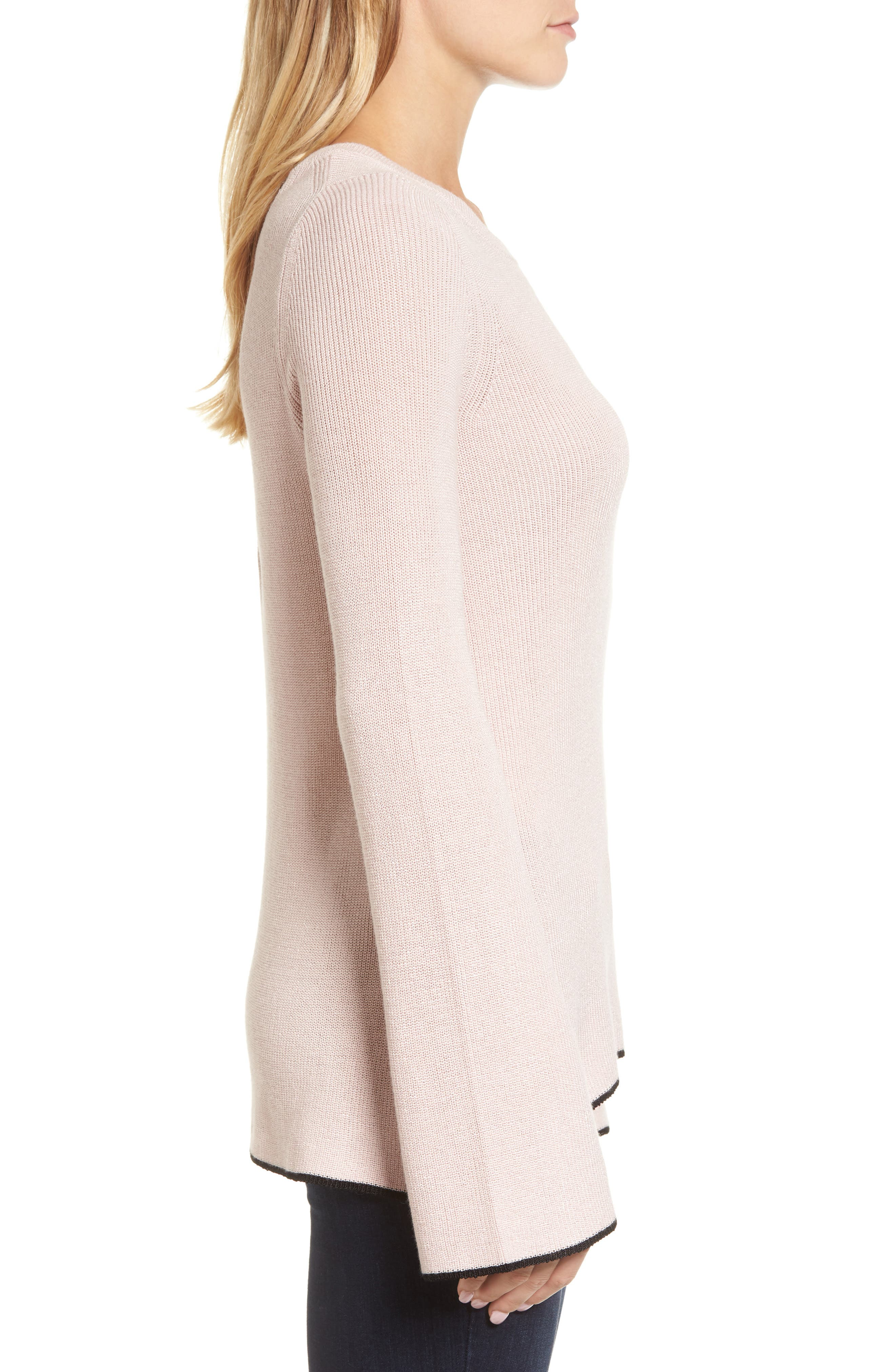 Tipped Bell Sleeve Sweater,                             Alternate thumbnail 21, color,