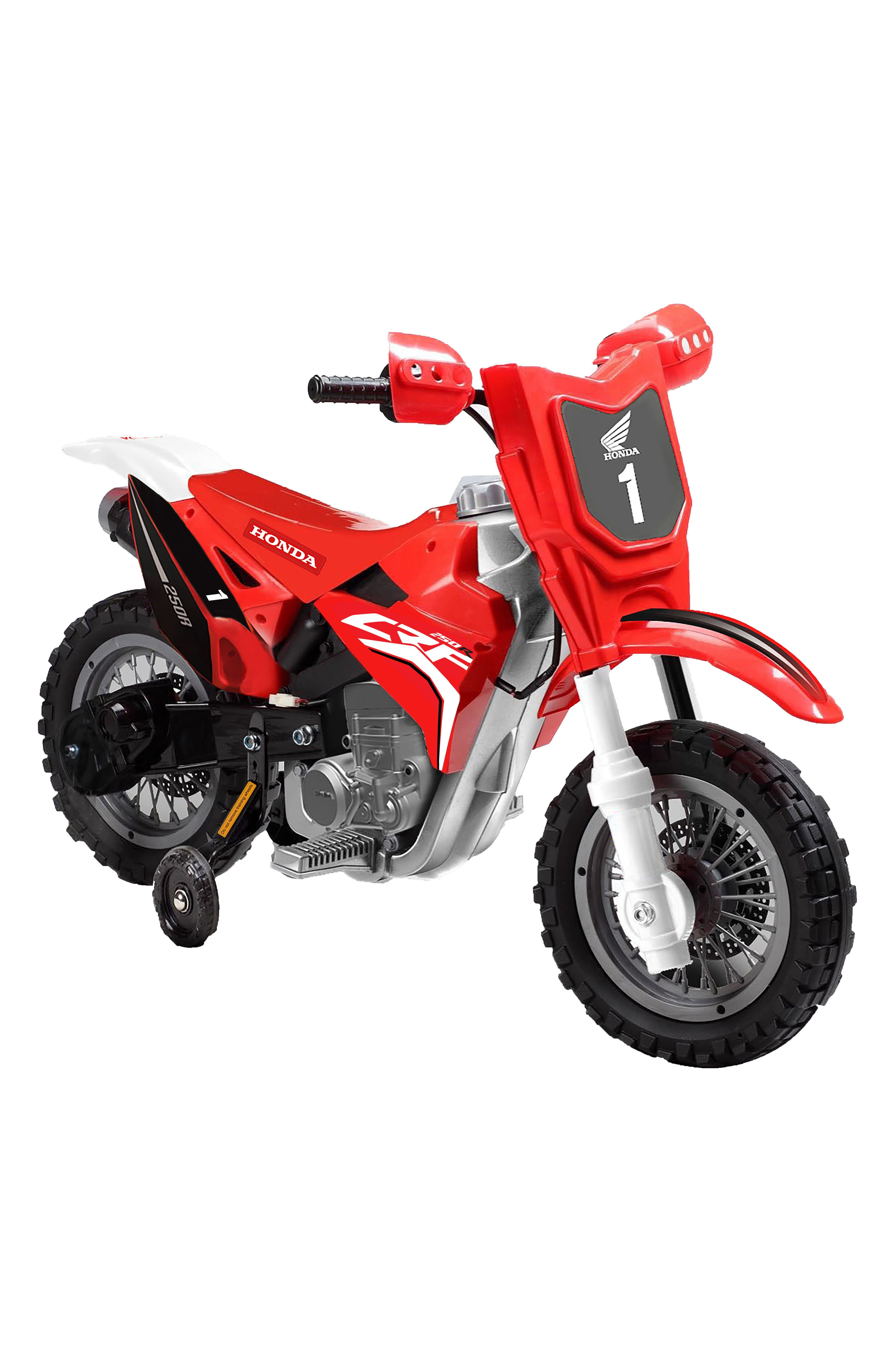 Honda Dirt Bike Ride-On Toy Motorcycle,                             Main thumbnail 1, color,                             RED